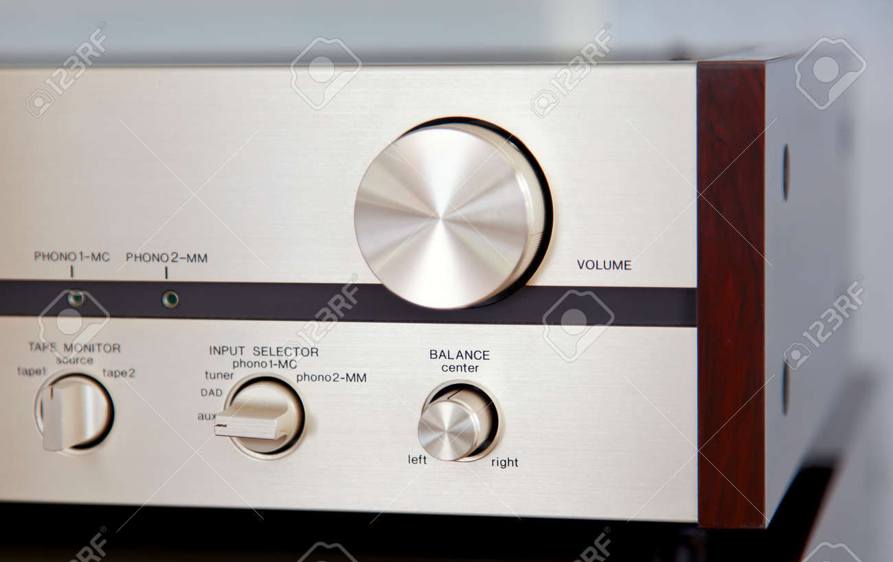 Vintage Stereo Amplifier Huge Volume Control Knob angled view - 146640857
