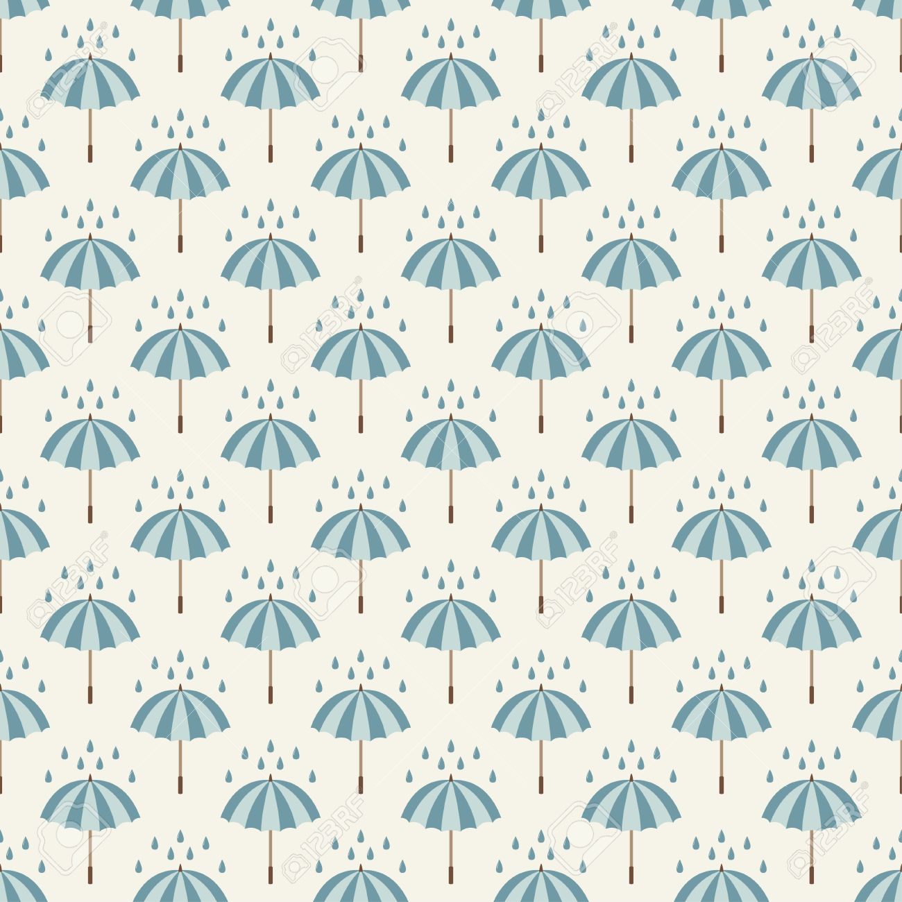 Seamless Pattern With Umbrellas And Rain Drops Can Be Used To Fabric Design Wallpaper