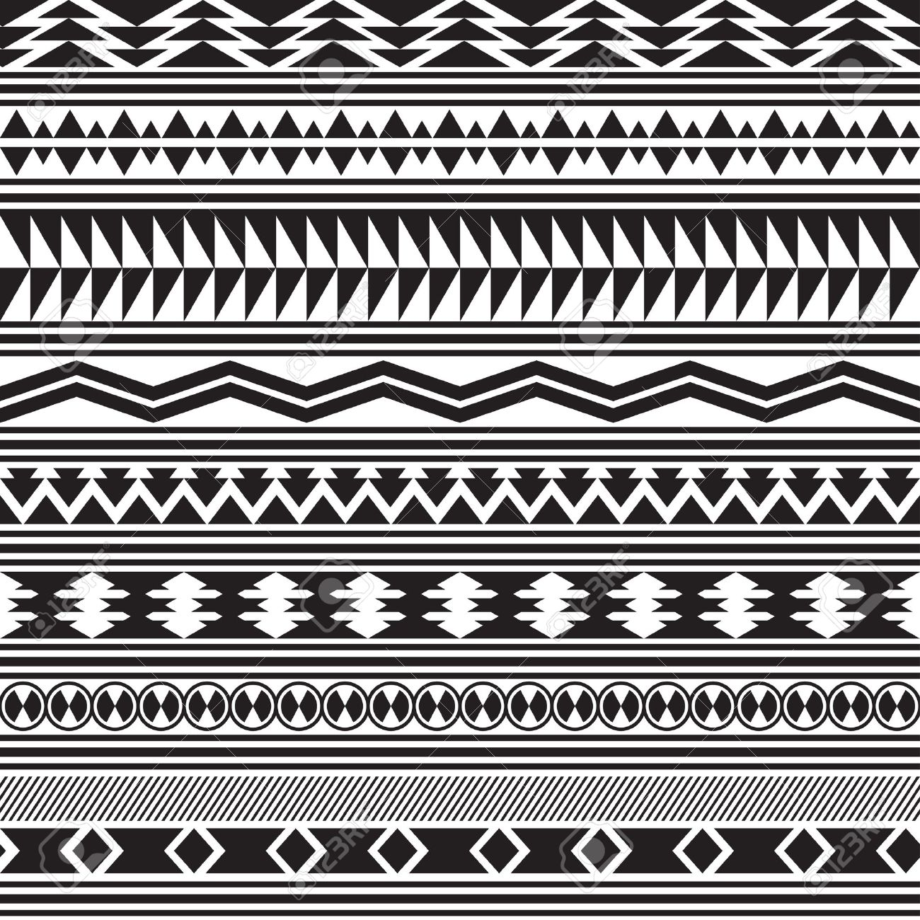Tribal striped seamless Black And White Tribal Print Wallpaper