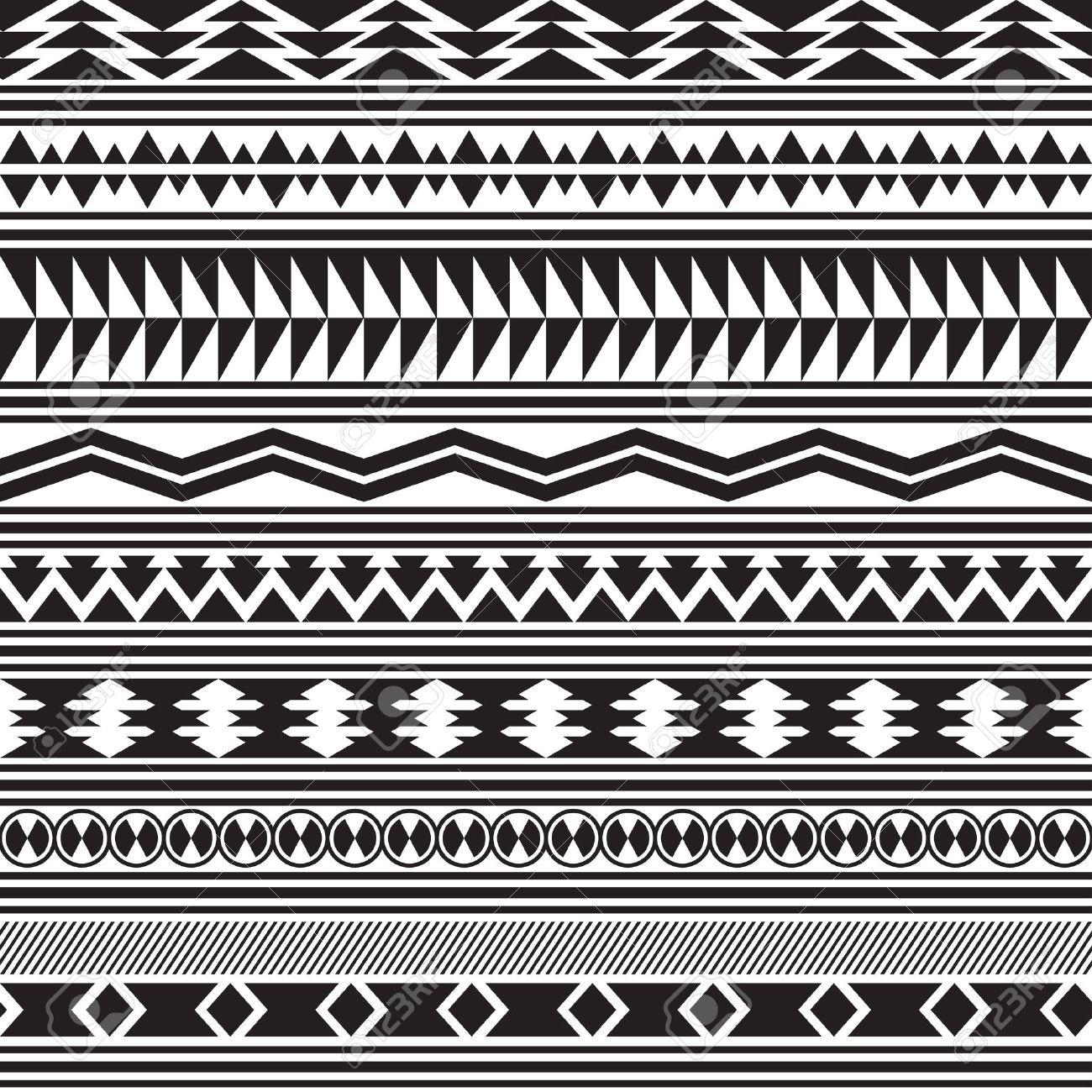 tribal striped seamless pattern geometric black-white background