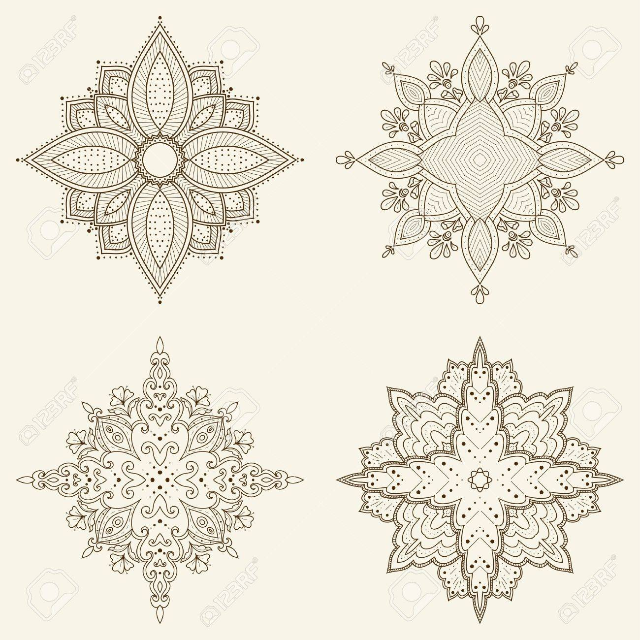Set of four mandalas  Beautiful hand drawn flowers  Ethnic lace round ornamental pattern  Can be used to fabric design, decorative paper, web design, embroidery, tattoo, etc Stock Vector - 20025662