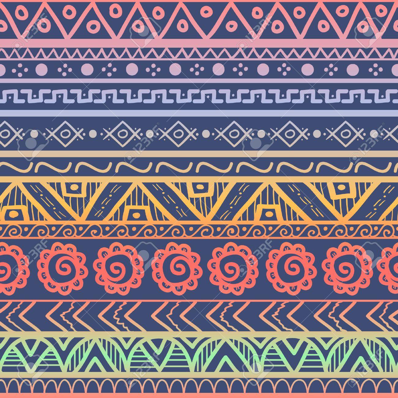 Tribal Rayas Sin Patrón Dibujado A Mano De Fondo Azteca Los