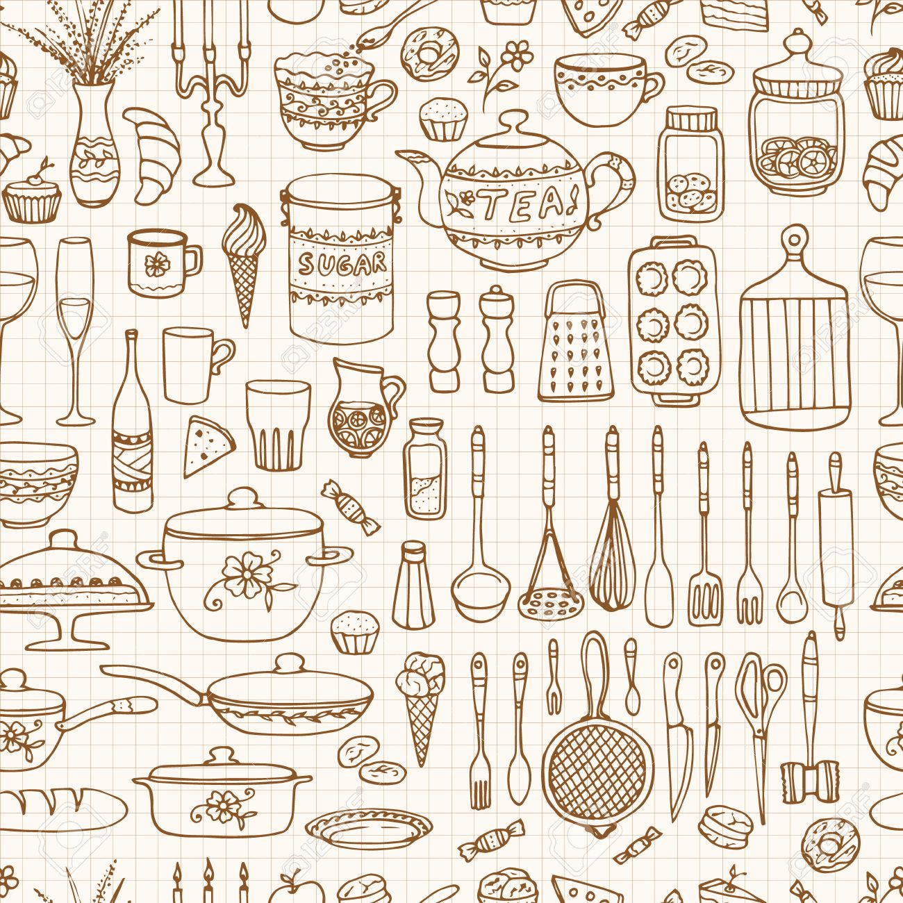 Seamless Pattern With Hand Drawn Cookware On The Lined Paper