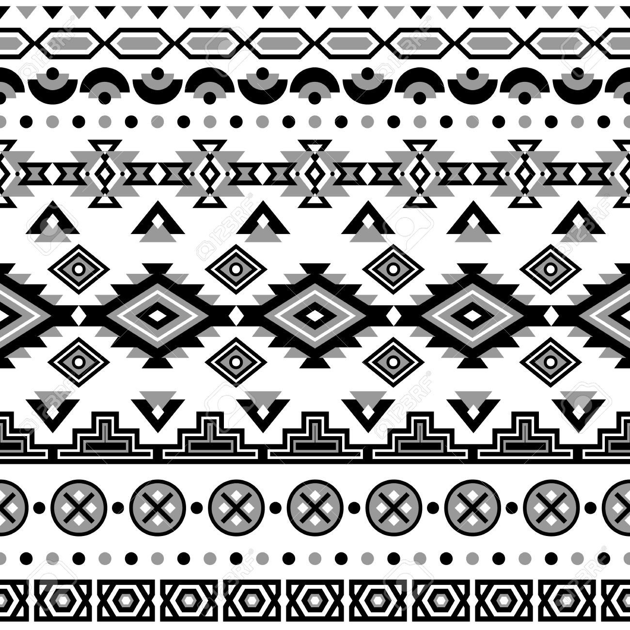 Aztec Black White Background Tribal Ethnic Navajo Print Modern