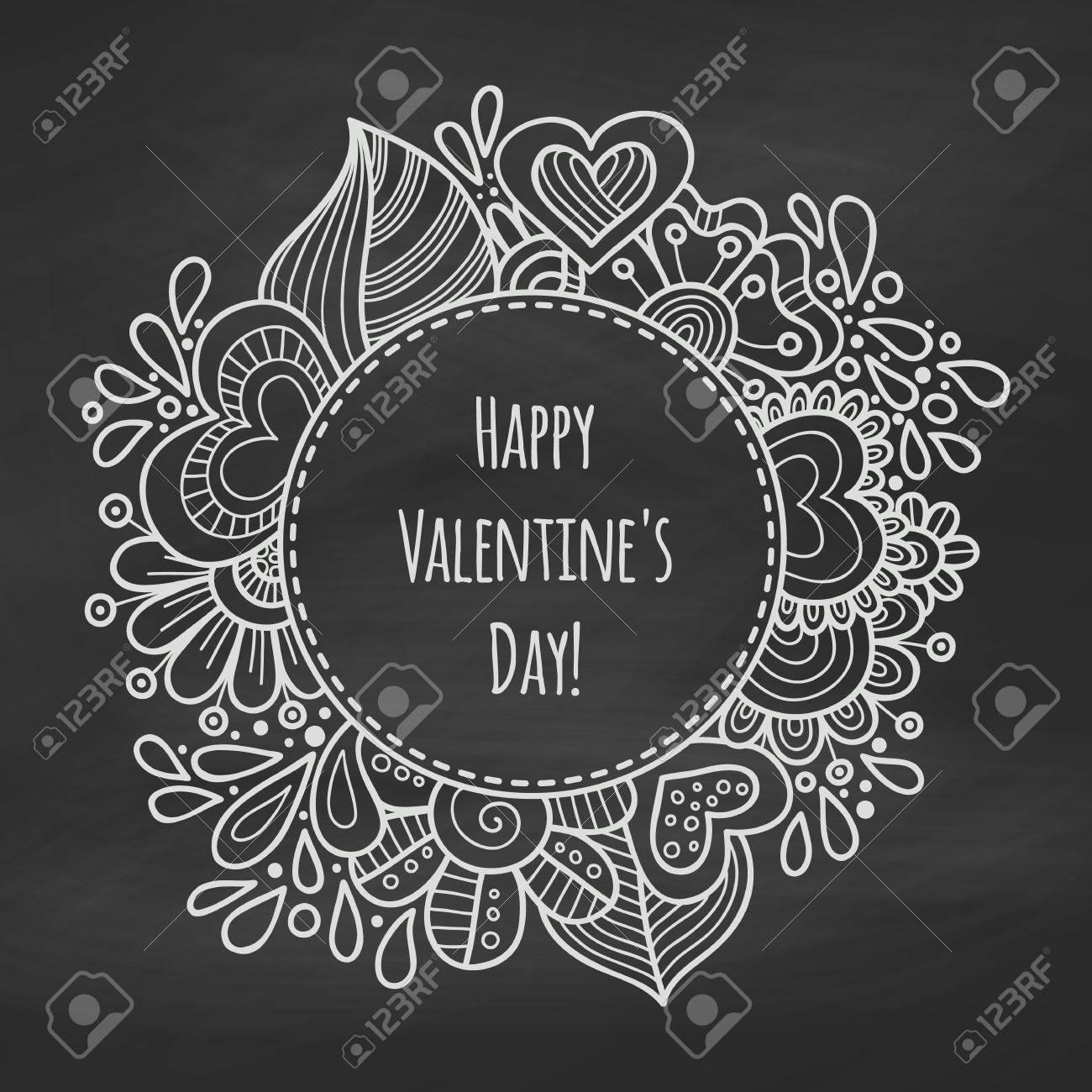Chalk Floral Frame An Die Tafel. Valentine Day Hintergrund. Rahmen ...