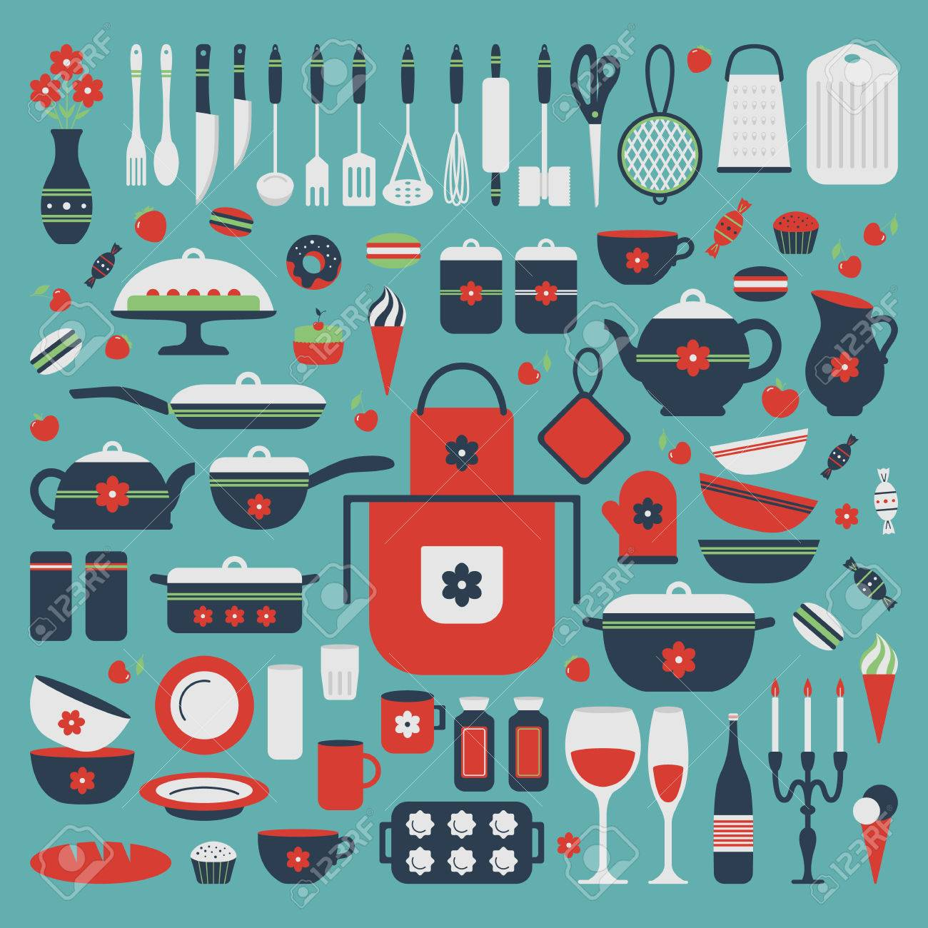 Set Of Kitchen Utensils And Food, Isolated Objects. Cookware ...