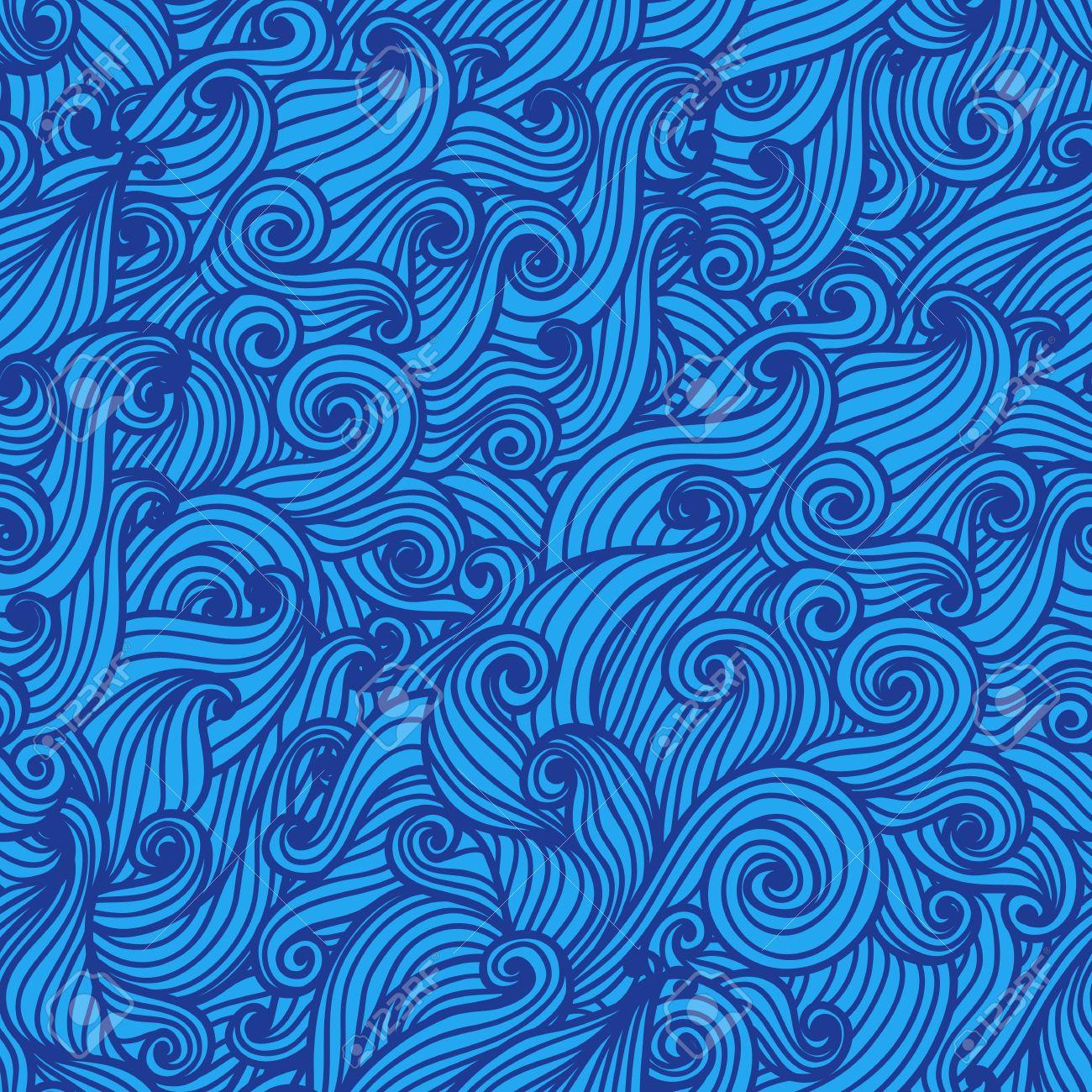 . Wavy seamless pattern  Hand drawn curly background  Modern wallpaper