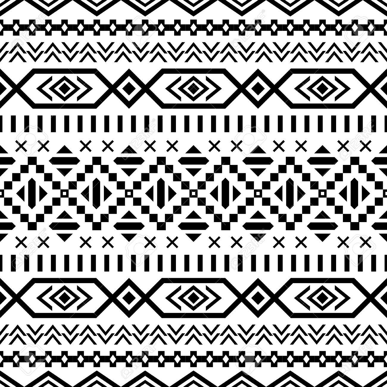 Aztec Black White Background Tribal Ethnic Navajo Print Modern