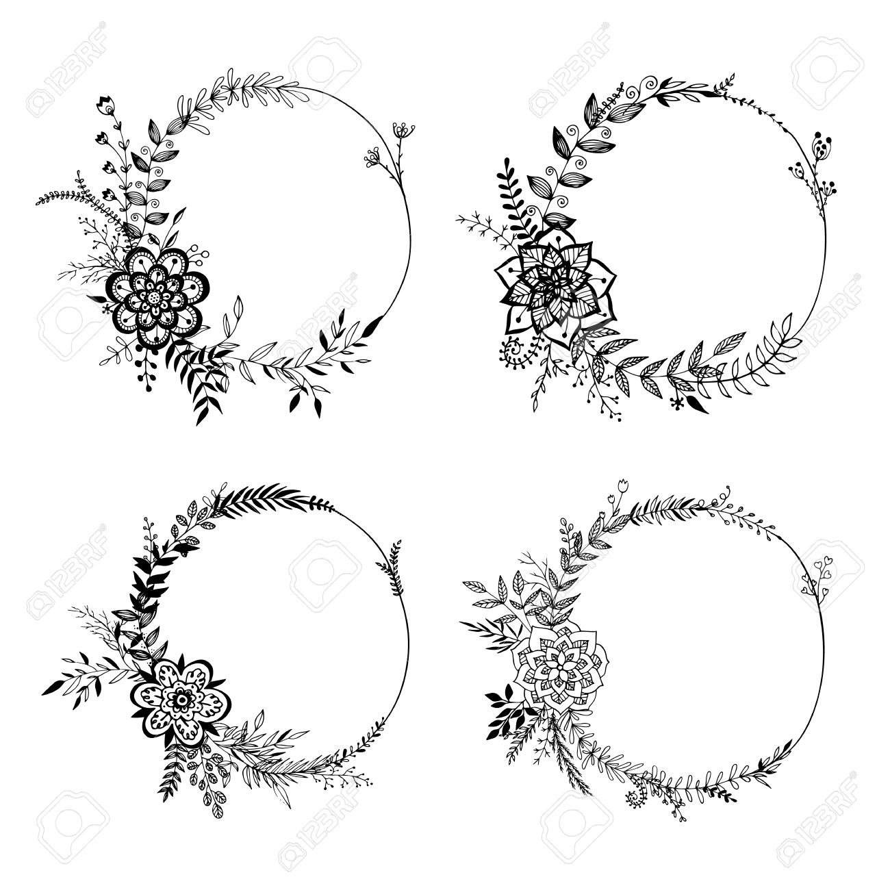 Set of floral wreaths isolated on white background hand drawn vector illustration set of floral wreaths isolated on white background hand drawn elements for wedding decor junglespirit Gallery