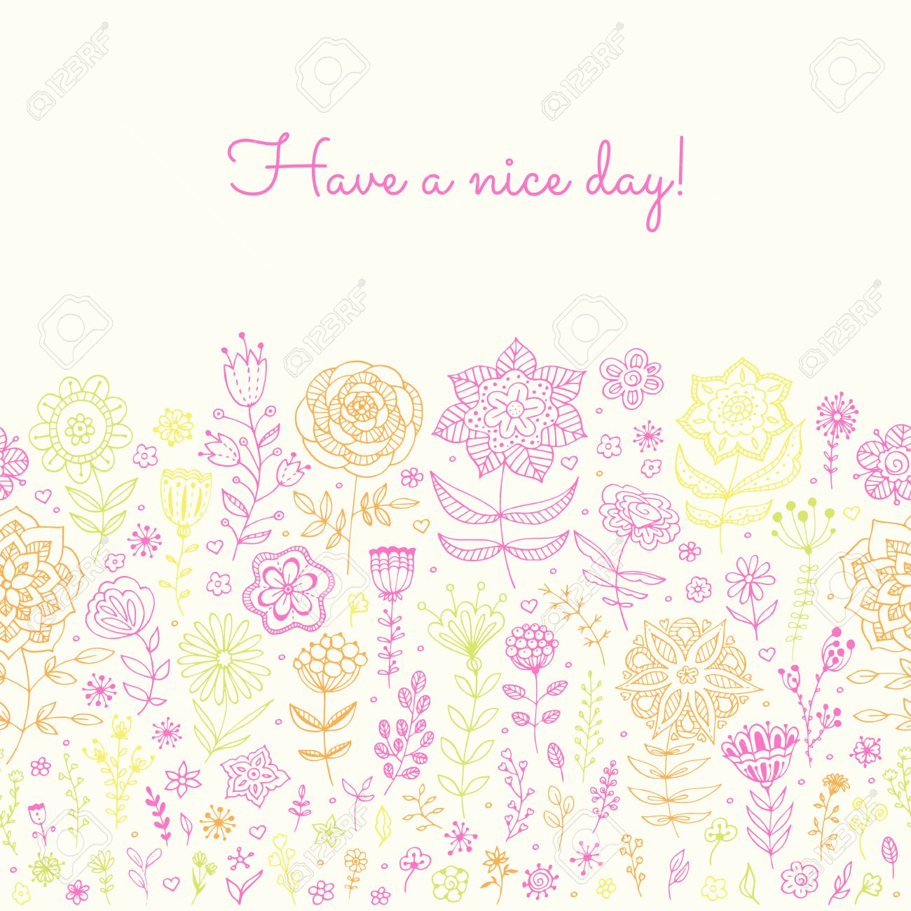 Floral background have a nice day greeting card invitation floral background have a nice day greeting card invitation with doodle flowers and m4hsunfo