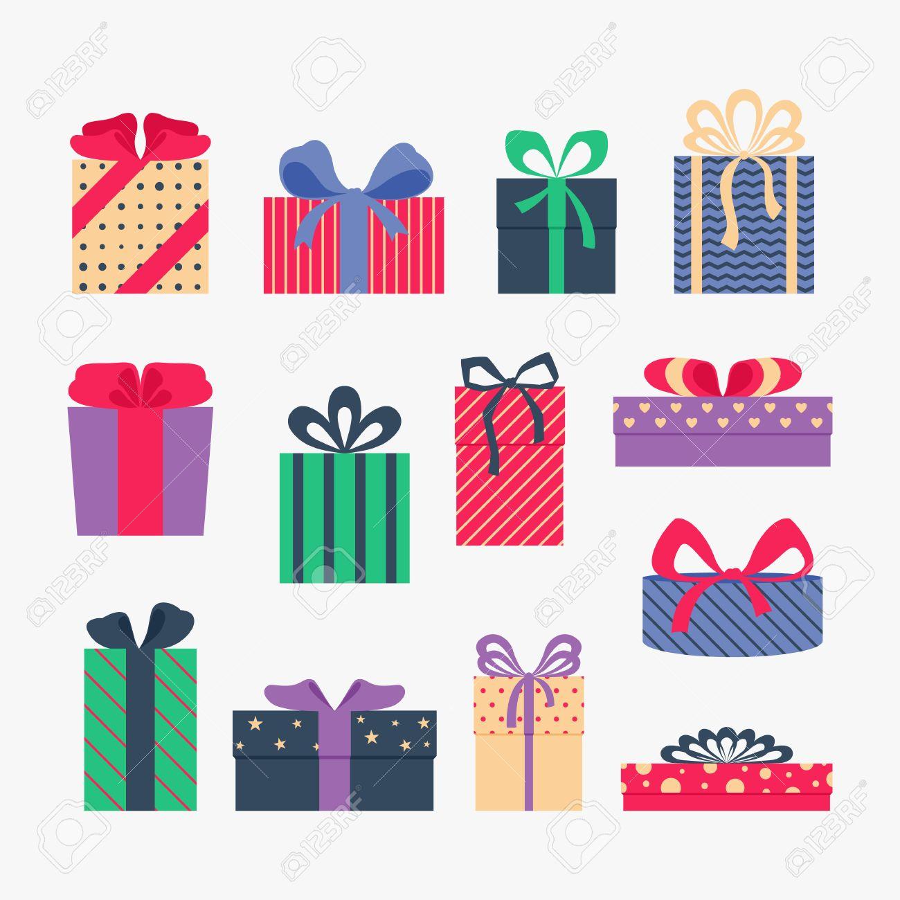 灰色の背景で隔離のかわいいカラフルなギフト ボックスのセットです。はがき、グリーティング カード。クリスマス プレゼント、販売。ベクトル イラスト。
