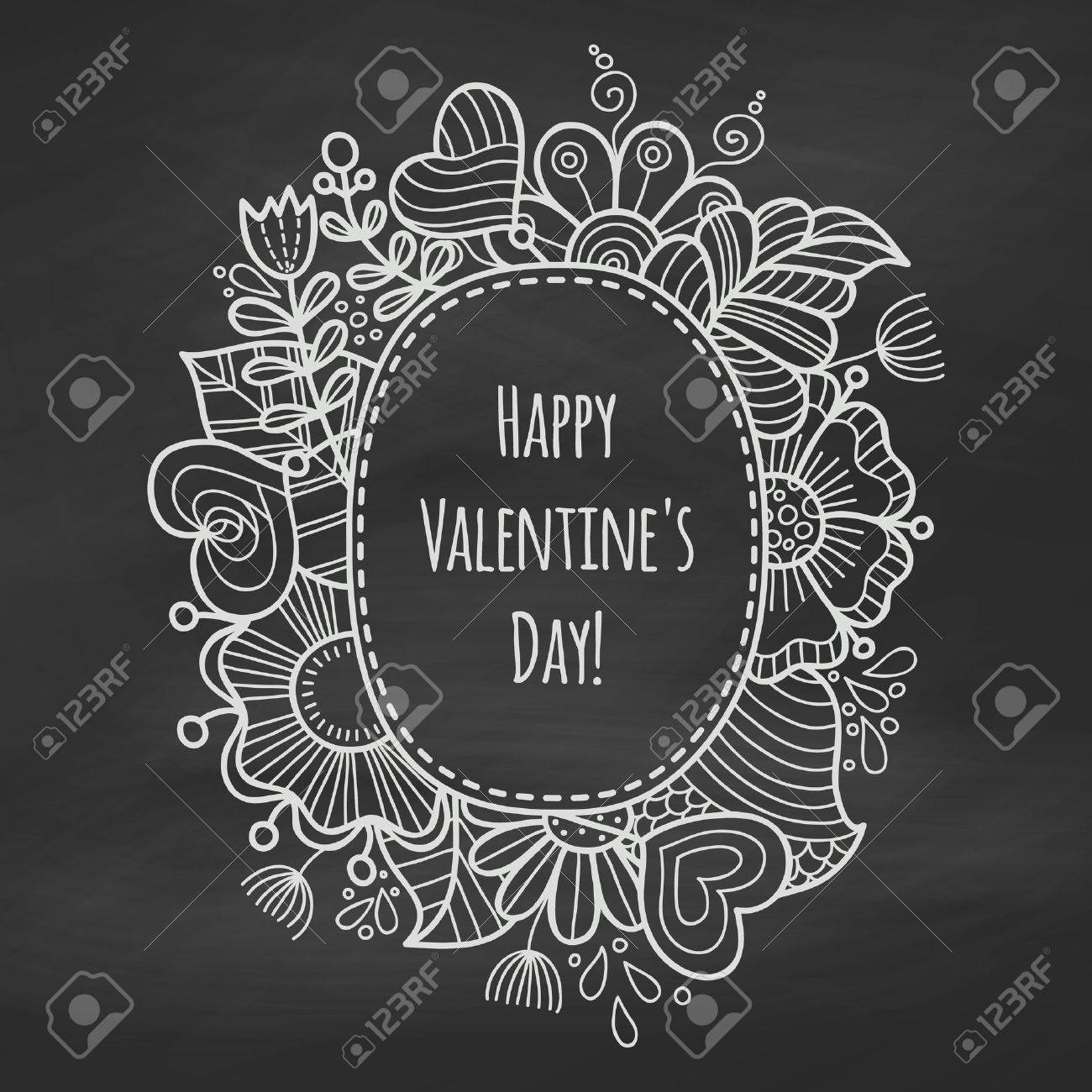 chalk floral frame on the blackboard valentine day background