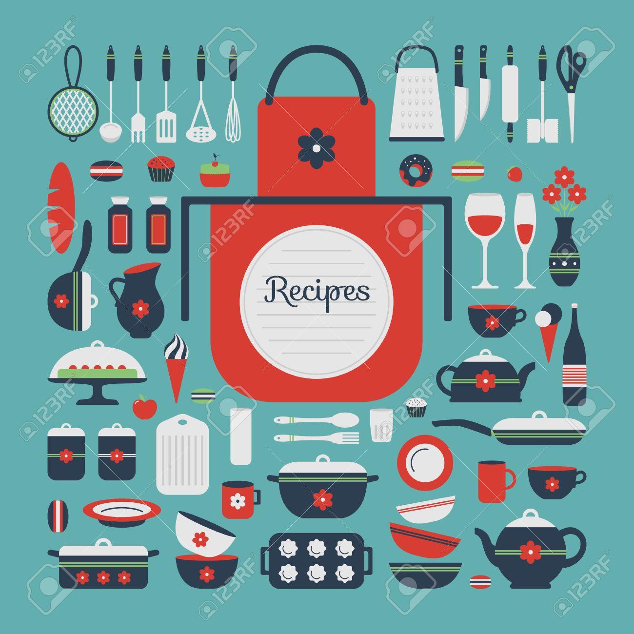 set di utensili da cucina e il cibo, oggetti isolati. sfondo per ... - Oggetti Per Cucina