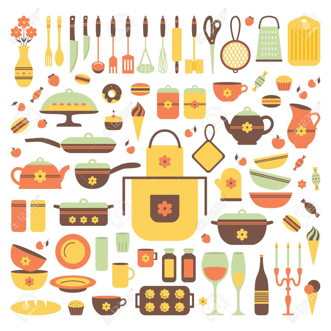 Kitchen Utensils Background set of kitchen utensils and food, isolated objects. cookware