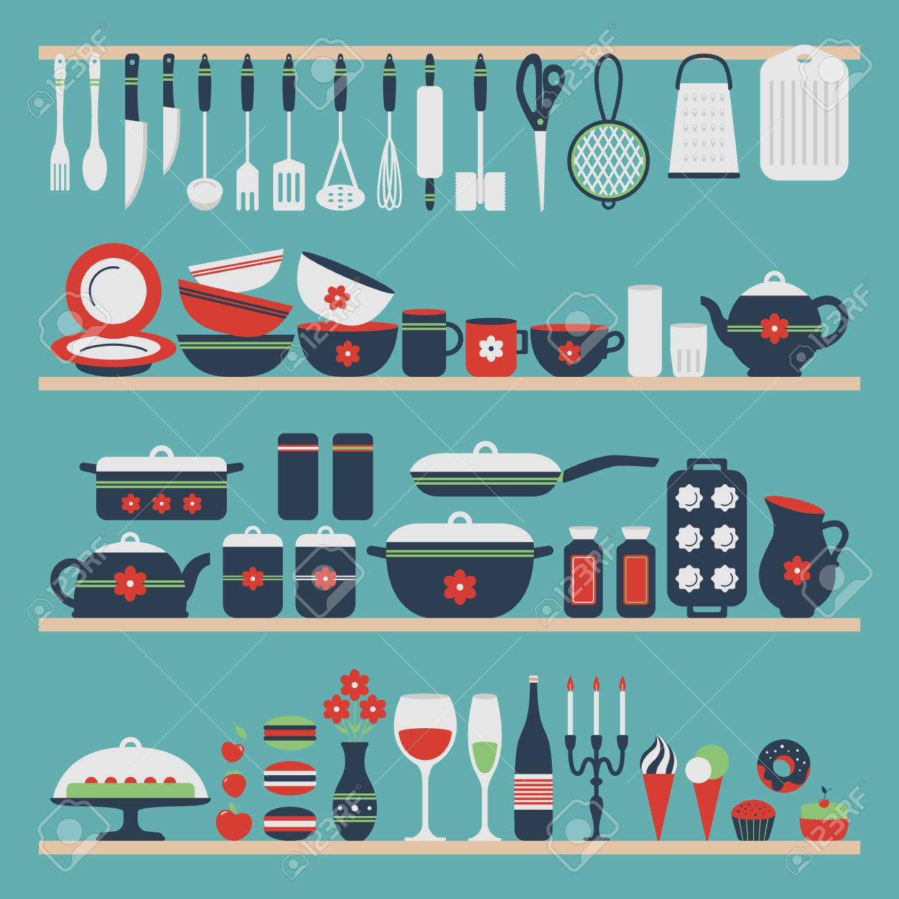 Set Of Kitchen Utensils And Food, Objects On Shelves. Cookware ...