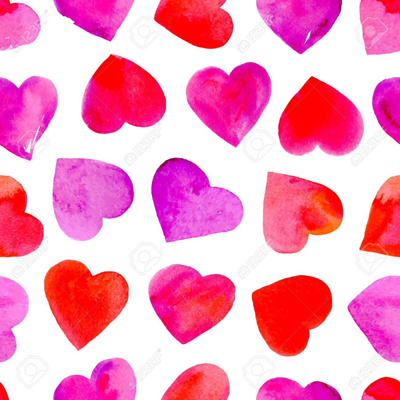 Seamless Pattern With Watercolor Hearts Valentine Day Wallpaper
