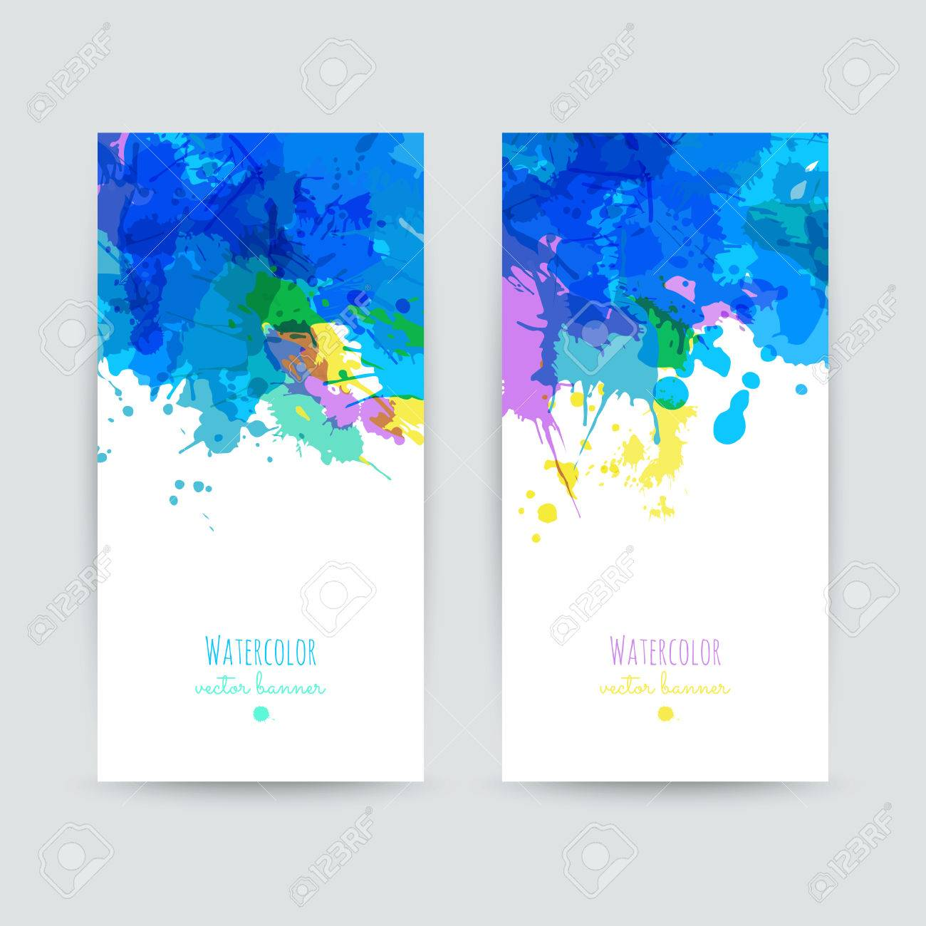 Set of two colorful business cards templates banners with set of two colorful business cards templates banners with handpainted splashes greeting cards reheart Image collections