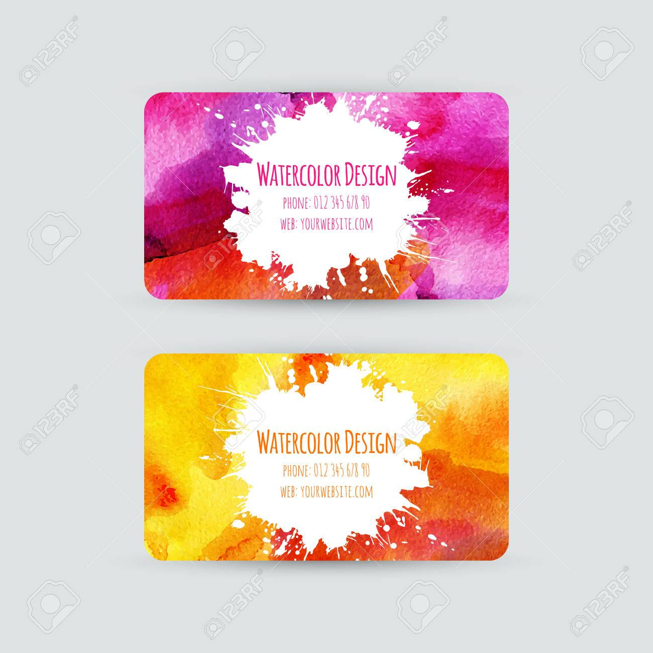 Business Cards Templates Watercolor Design Cards With Bright