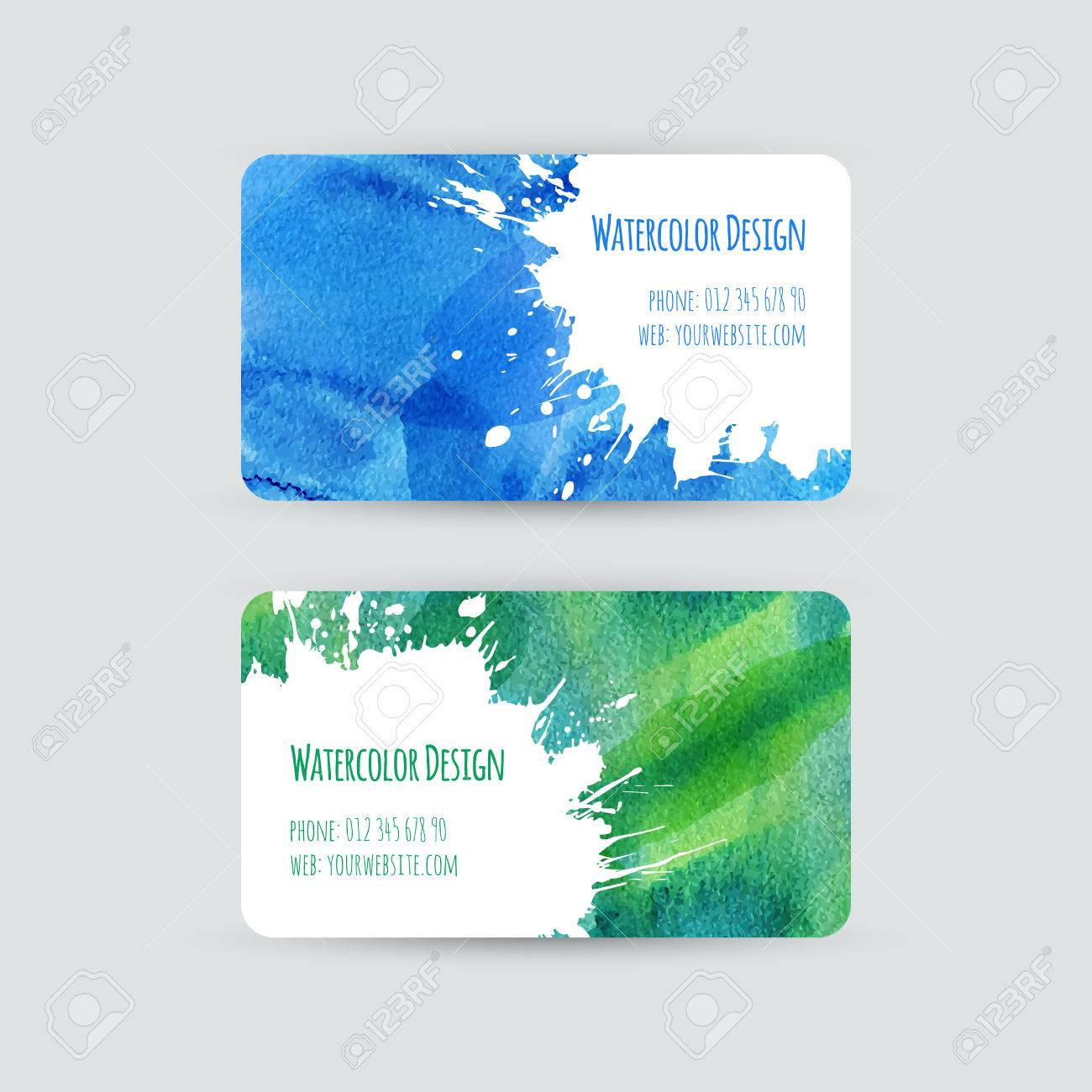 Business Cards Templates. Watercolor Design. Cards With Abstract ...