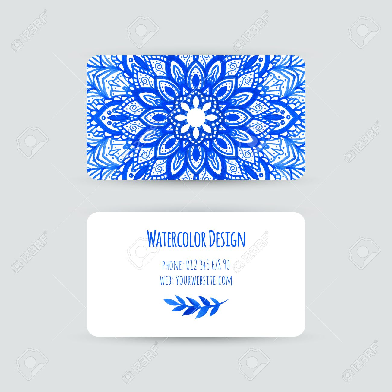 Business cards templates. Watercolor design. Cards with abstract..