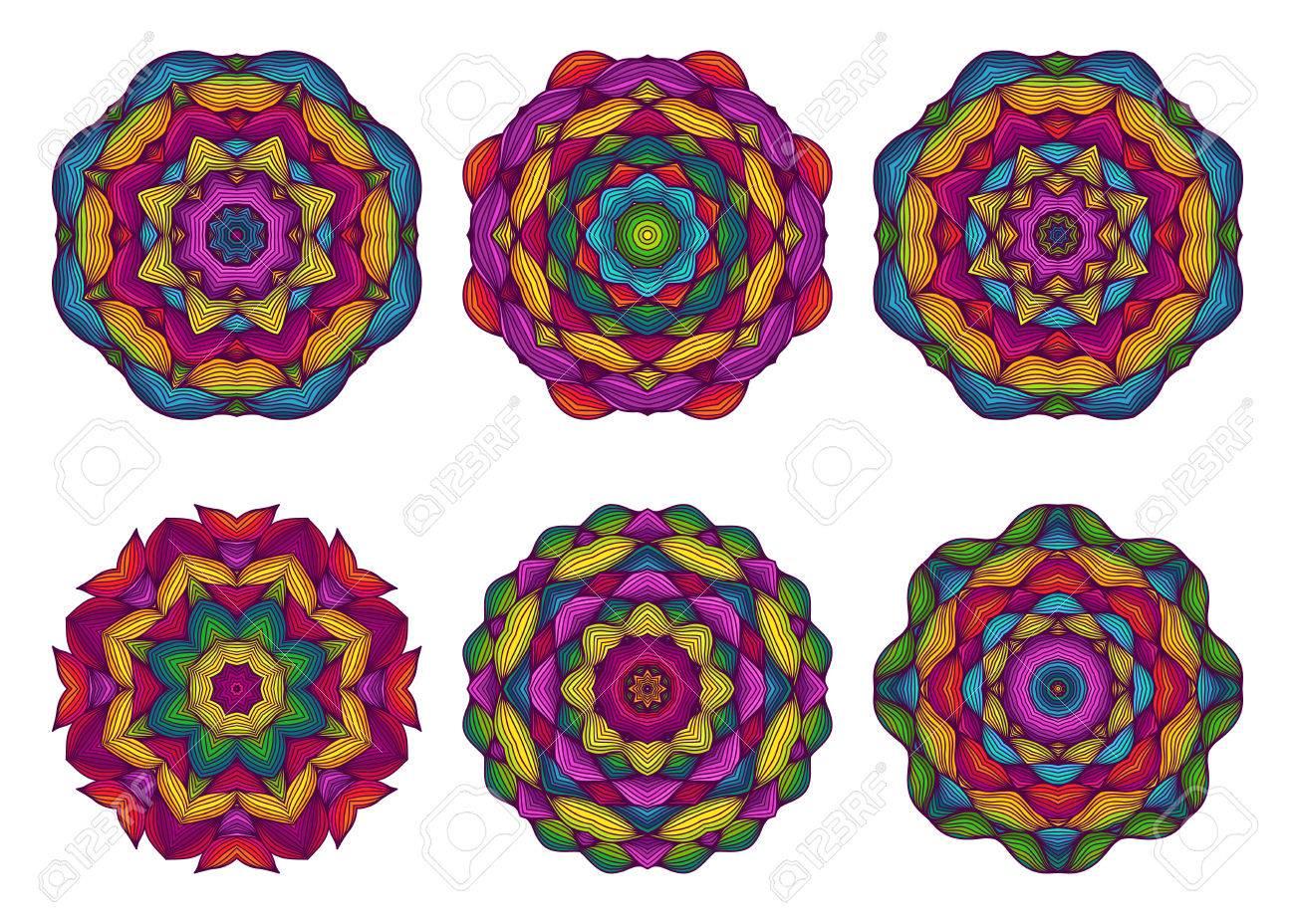 Conjunto De Mandalas Flores Dibujadas A Mano Hermosas Fondo Floral