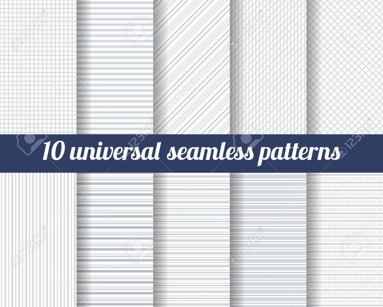 Set of ten subtle seamless patterns. Classic monochrome textures. Gray colors. Vector illustration. Stock Vector - 44742077