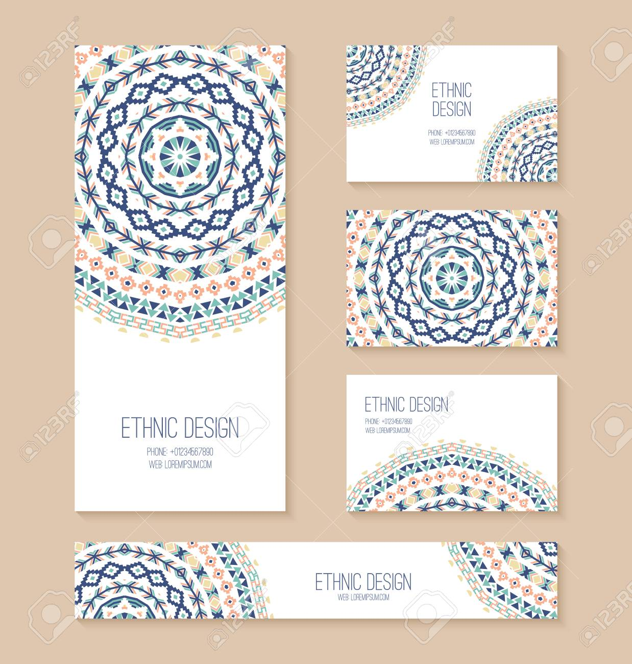 Set of business card banner invitation card templates with set of business card banner invitation card templates with ethnic design stylish tribal stopboris Gallery