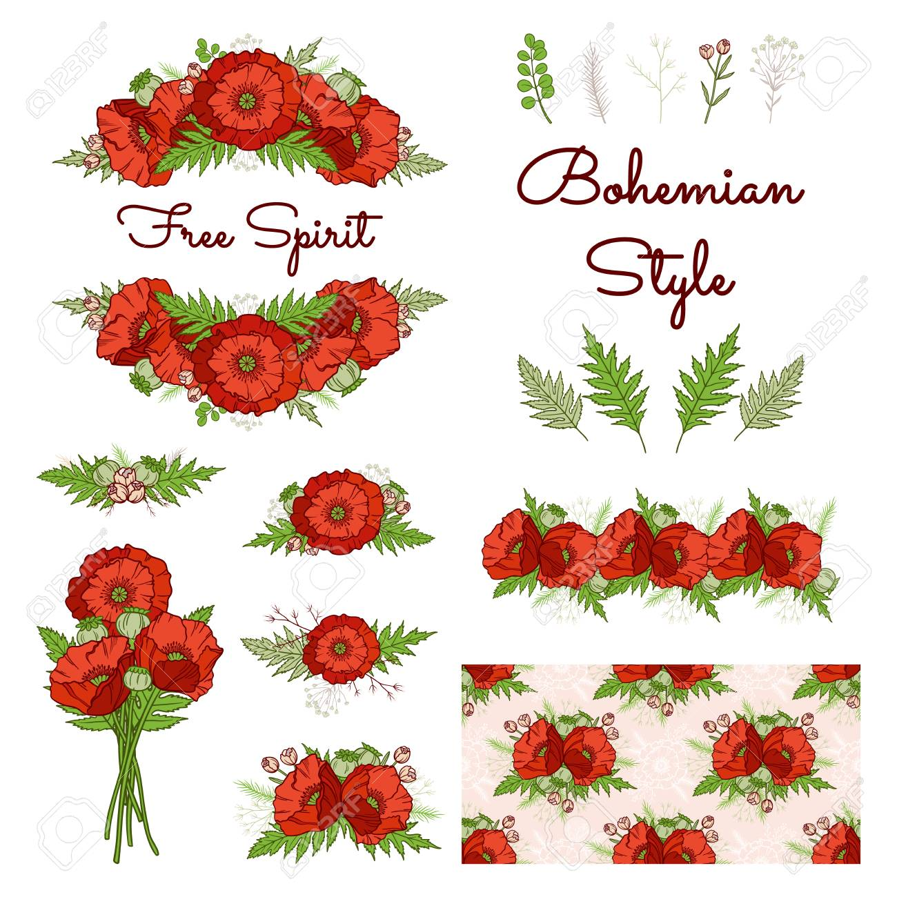 Bohemian Style Collection. Set Of Boho Floral Elements: Composition ...