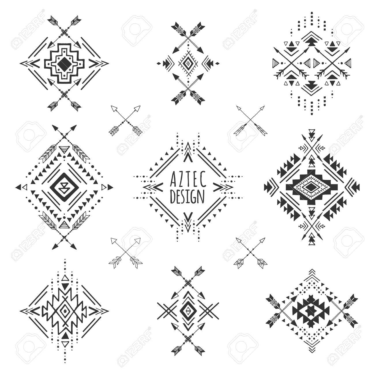 Elementos Azteca Símbolos Geométricos Tribales Para Tatuajes Las