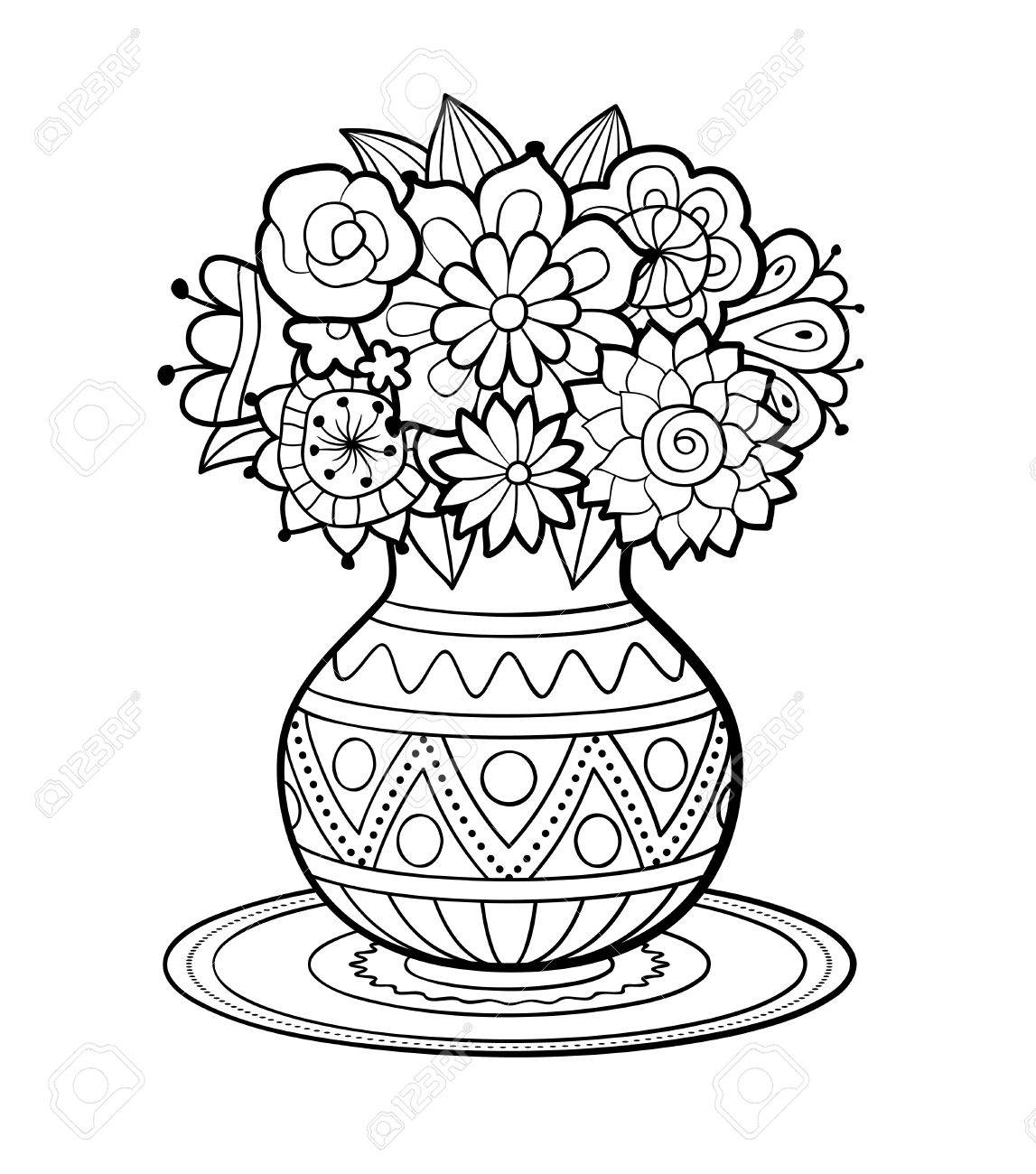 antistress coloring page for adults vase of flowers with geometric ornament standing on round napkin black and white outline vector