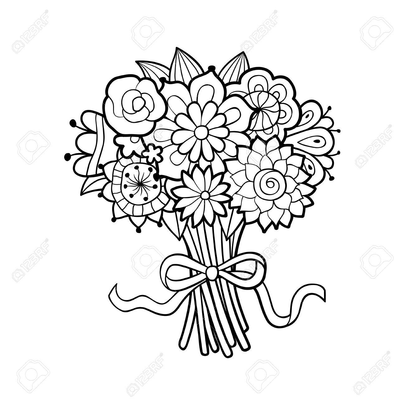 Flower Bouquet Decorated With Bow. Black And White Outline Vector ...