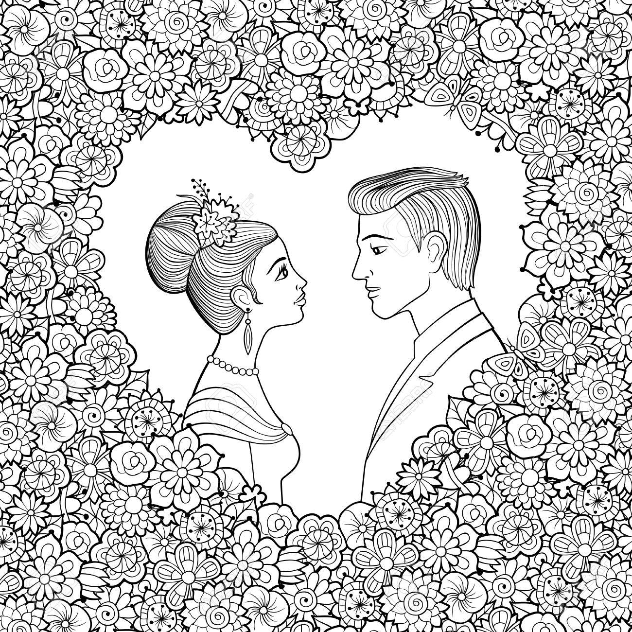 Ilustración De Vector Blanco Y Negro De Una Joven Pareja Hombre Y