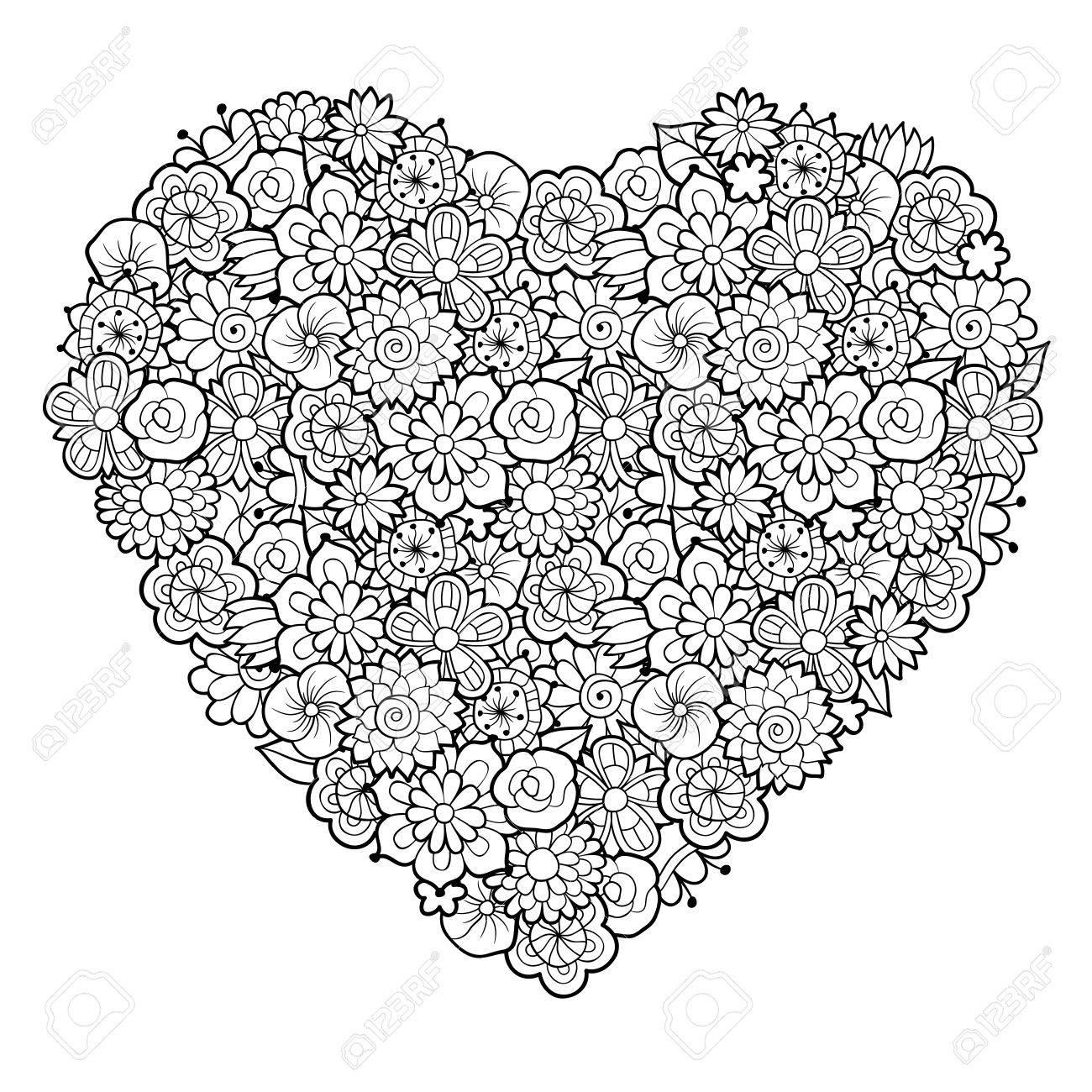 Großes Dekoratives Herz Mit Blumenverzierung. Schwarz Weiß Vektor