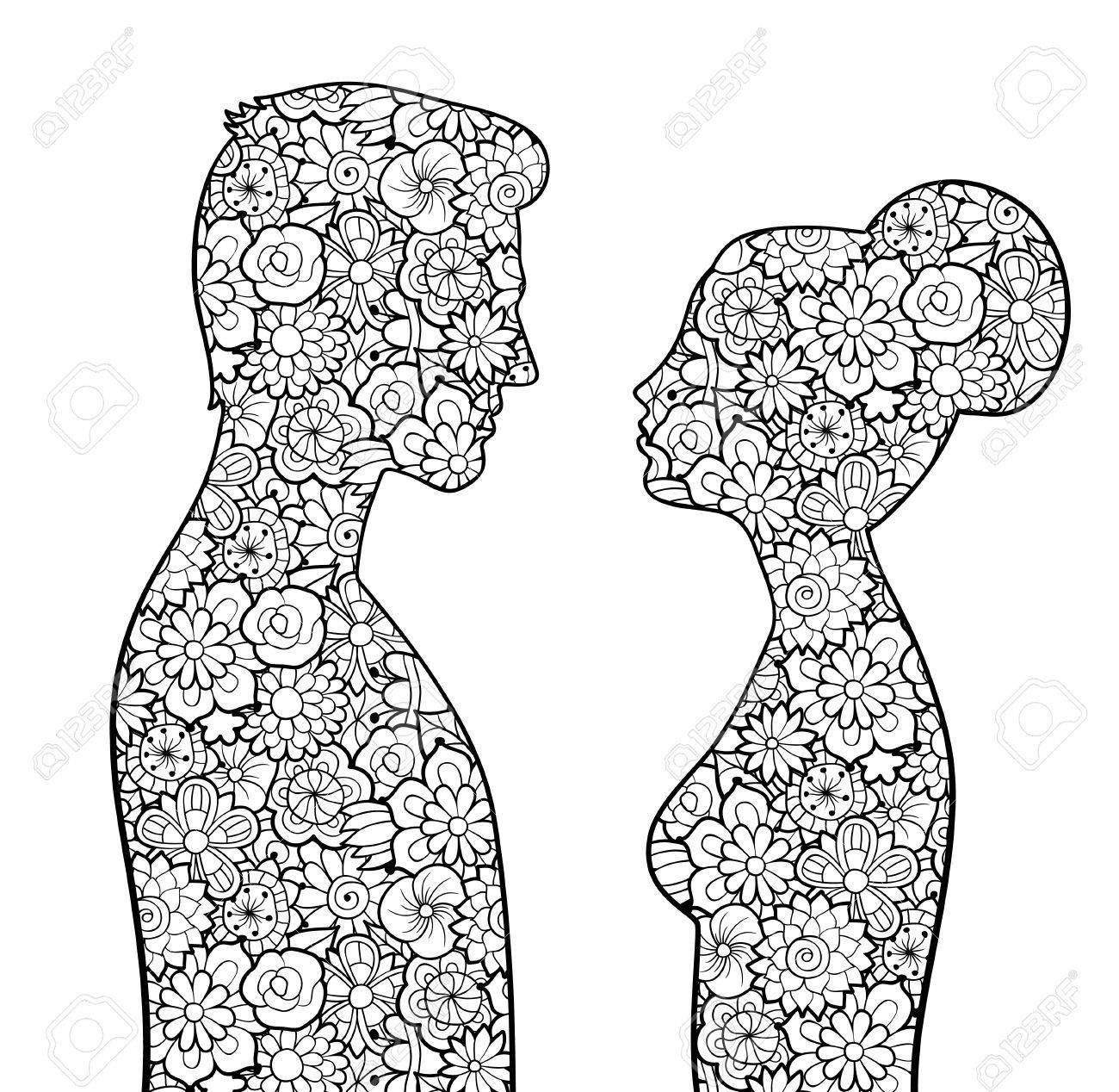 Male And Female Silhouettes With Flowers Man Woman Looking To Each Other Couple