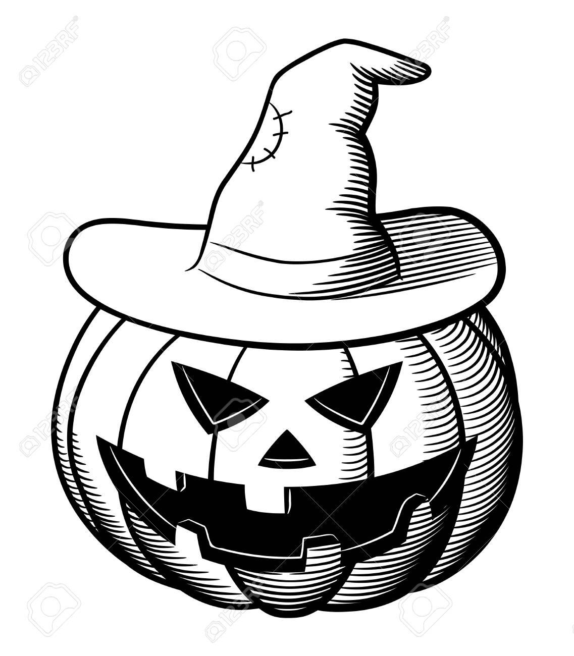 Jack-o-lantern Y Sombrero De Bruja. Ilustración Estilizada Vector ...