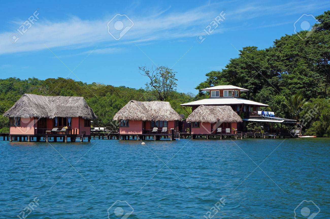 Eco Resort With Thatched Bungalow Over Water Island Of Bastimentos Caribbean Sea Bocas
