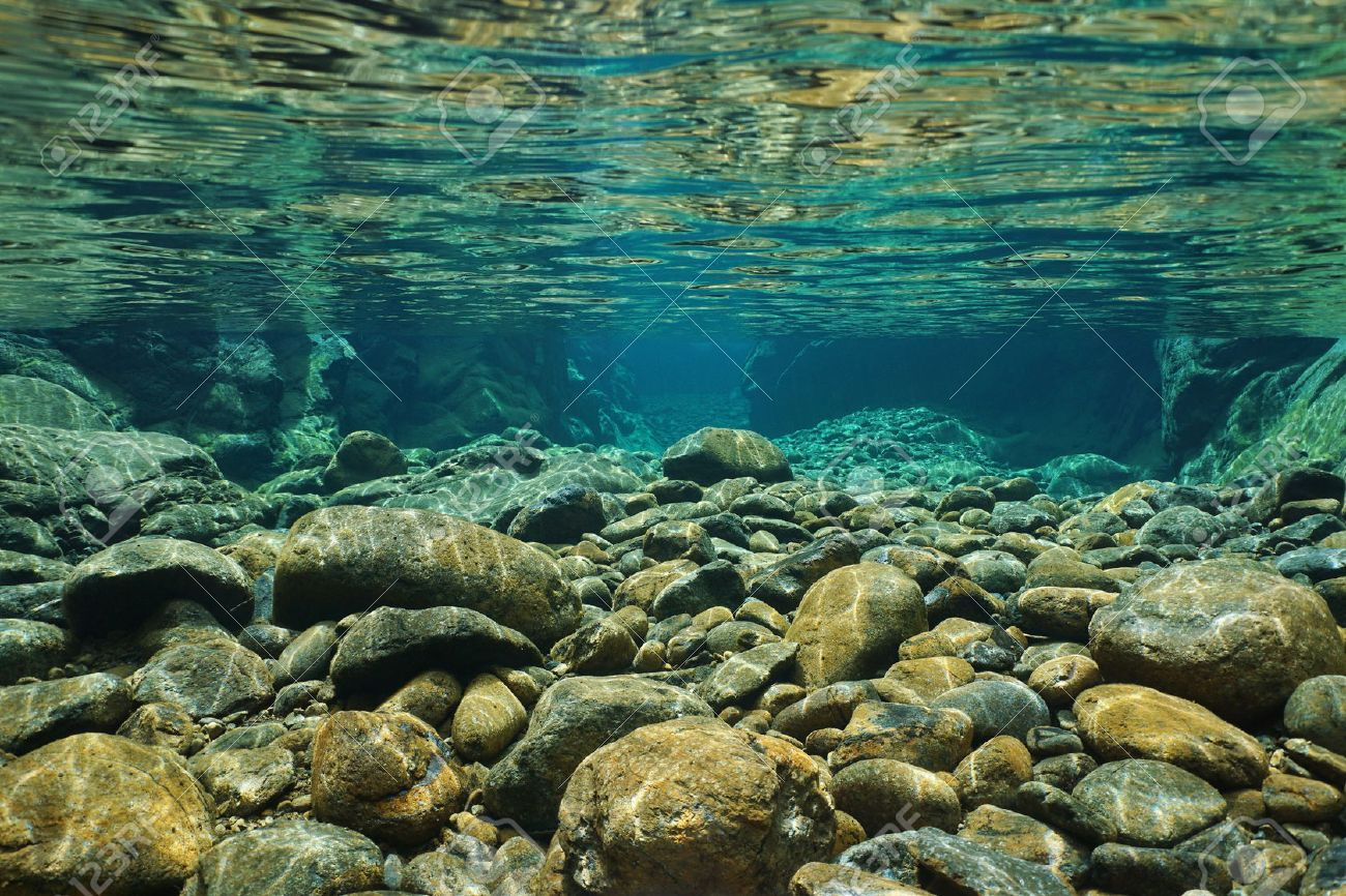 Rocks underwater on riverbed with clear freshwater