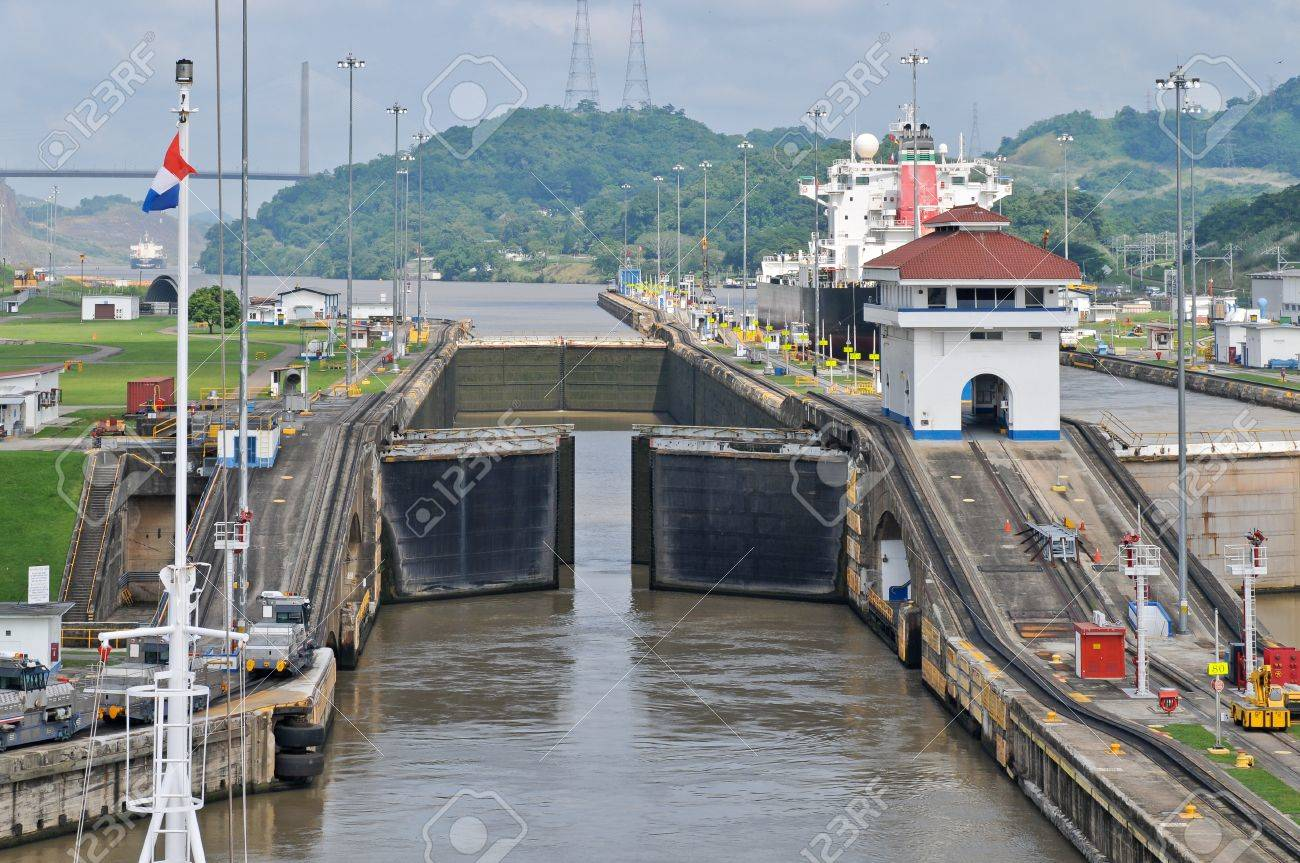 Ship enter Pedro Miguel Lock of the Panama Channel Stock Photo - 12819065