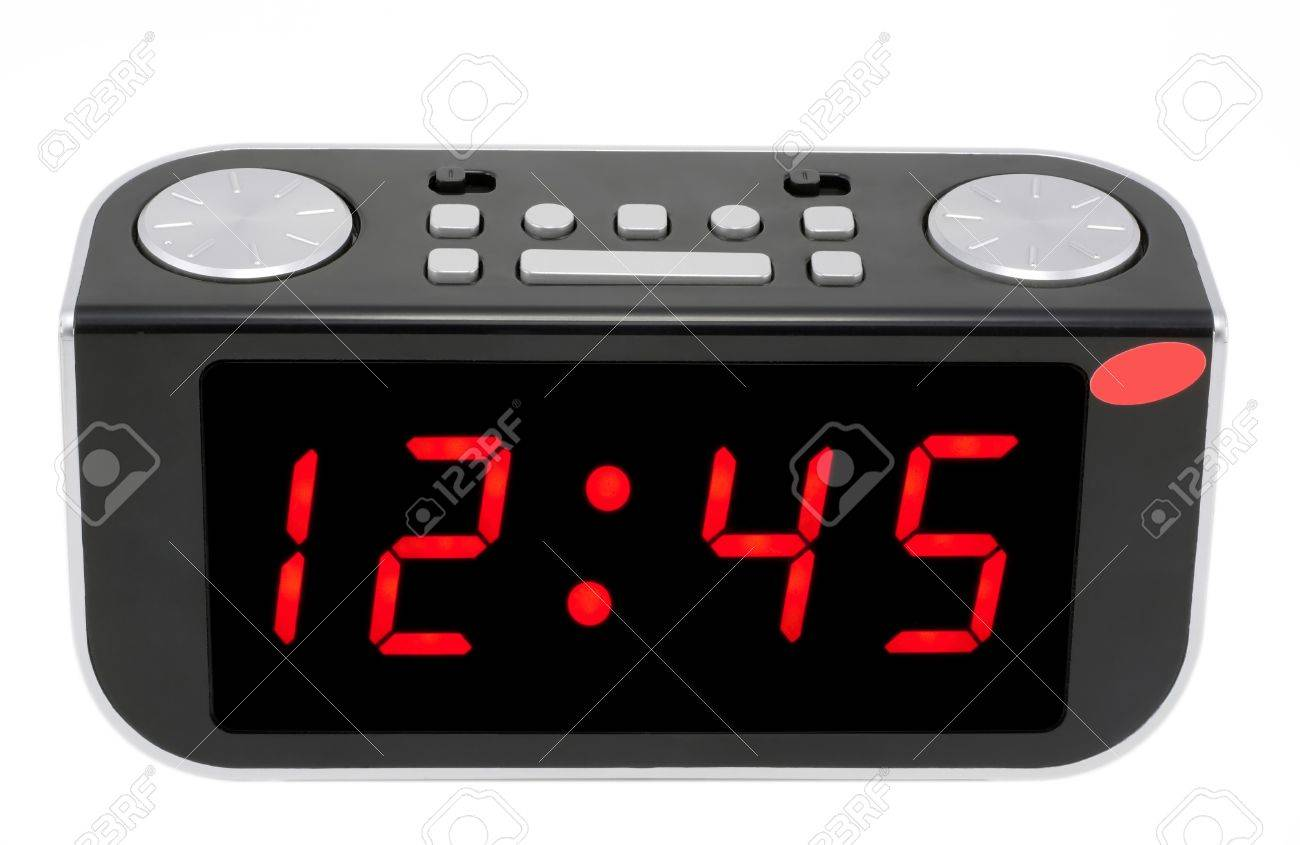 Modern abstract compact digital electronic clock mass production.Isolated with set and display patches Stock Photo - 9645372