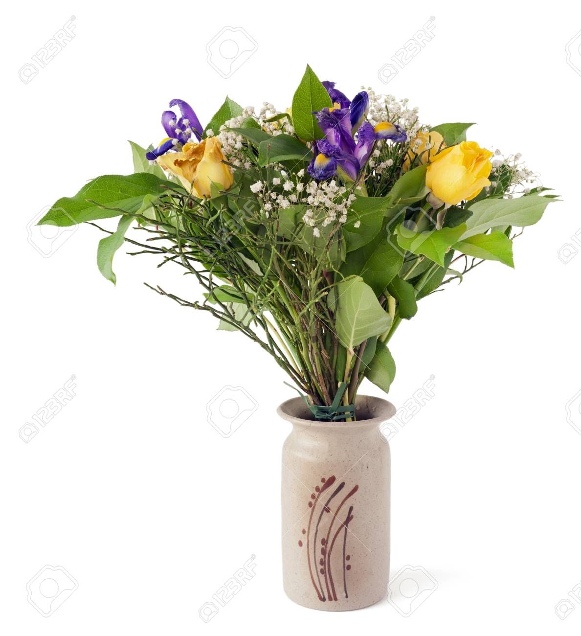 A Bouquet Of Yellow Roses And Blue Irises For Men On The Anniversary Stock Photo