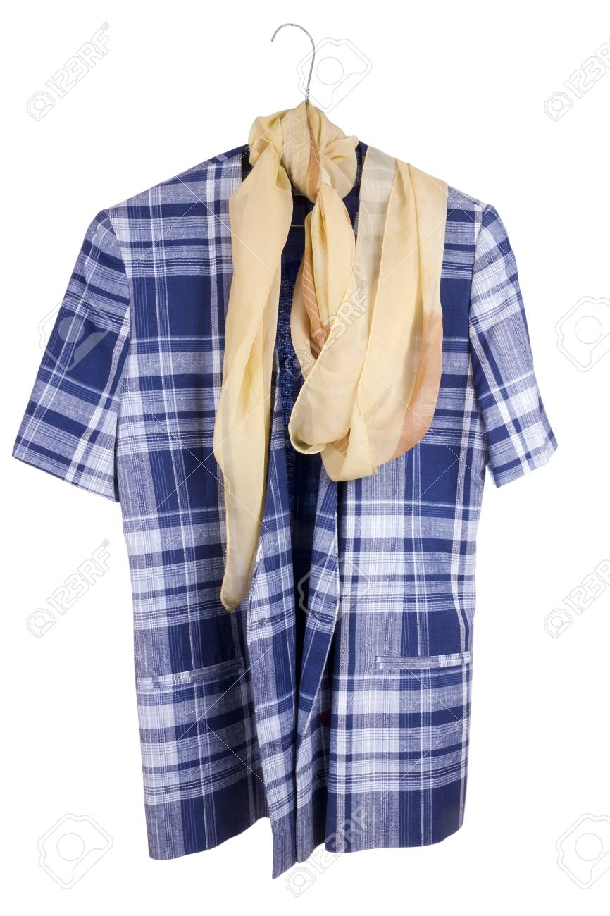 189cc6b529c Old checkered woman s retro blue jacket and silk scarf hanging on a hanger.  Isolated with