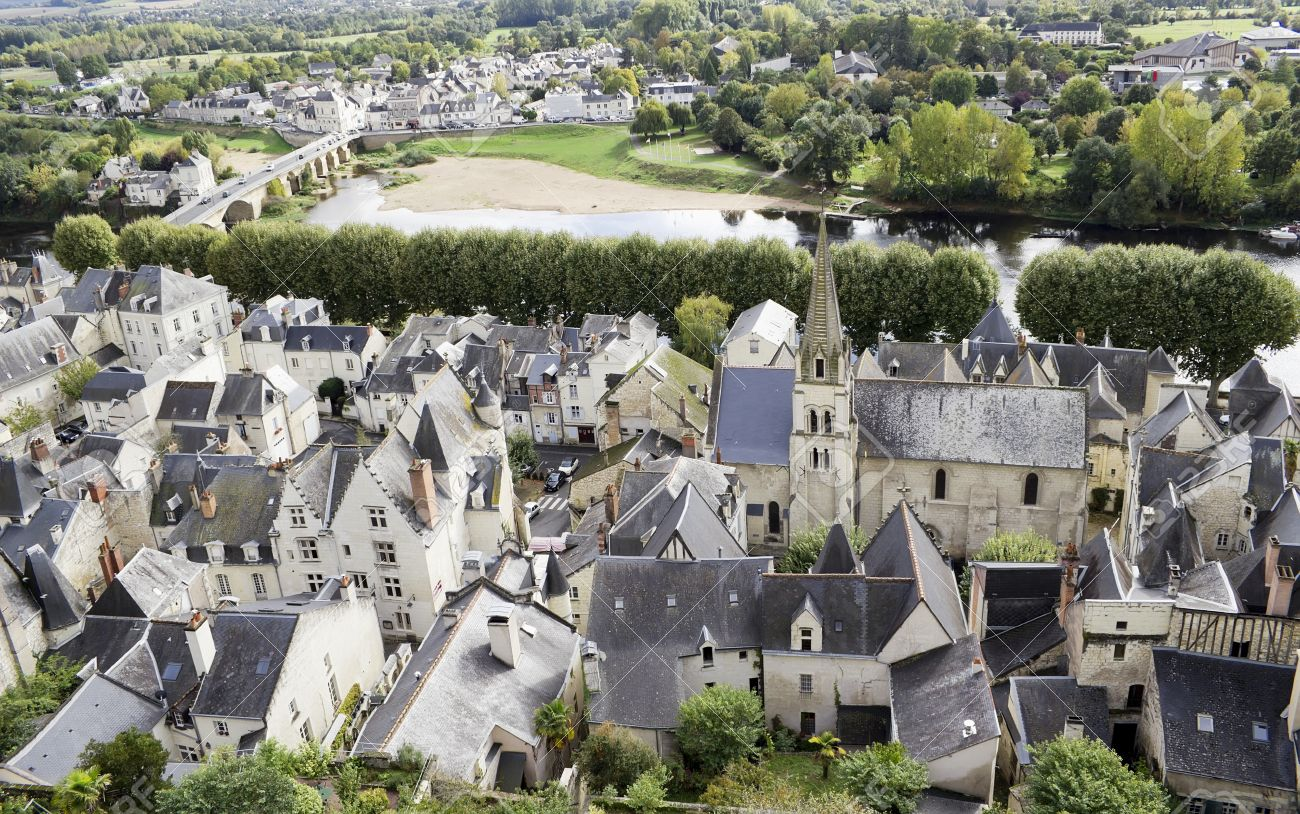 Panorama Top View Of The Old French Public Domain Country Town Near The River And The