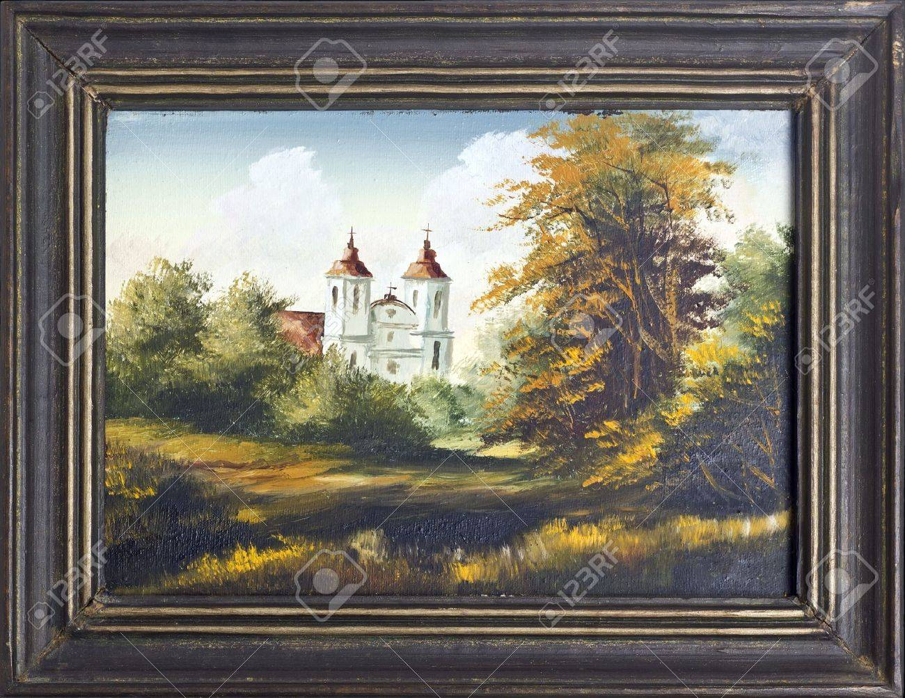 Autumn Landscape With Old Village Catholic Church Oil Painting ...
