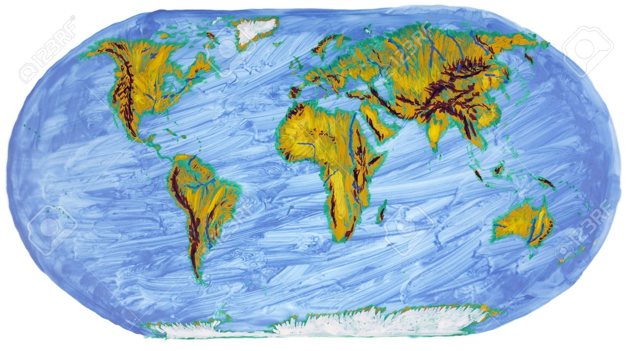 the children primitive abstract map of the earth with continents