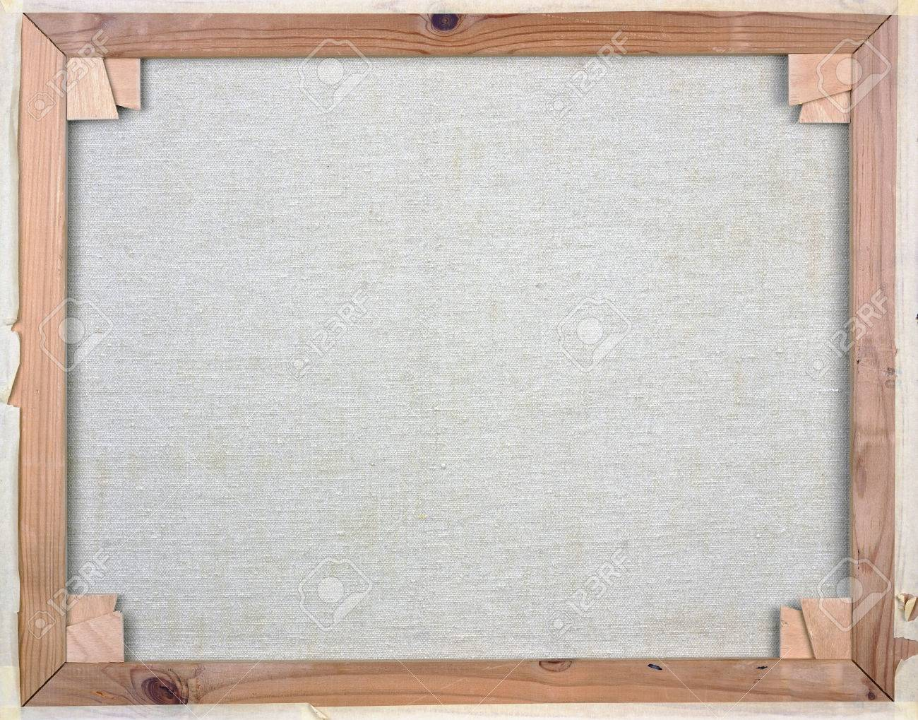 White Canvas On A Pine Wooden Frame Back Side View Stock Photo ...