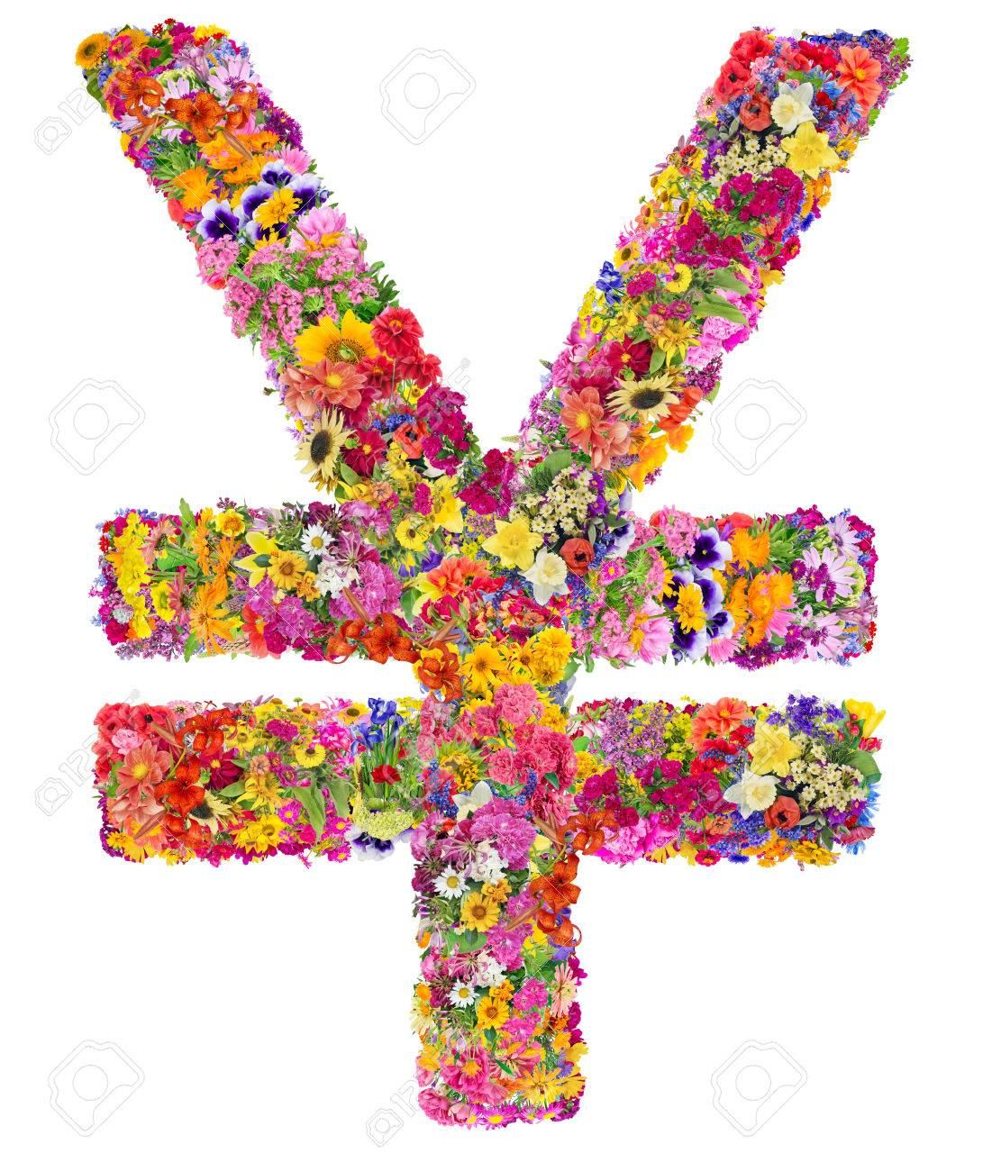 Symbol of the second strongest world currency china yuan made symbol of the second strongest world currency china yuan made from flower isolated biocorpaavc Choice Image
