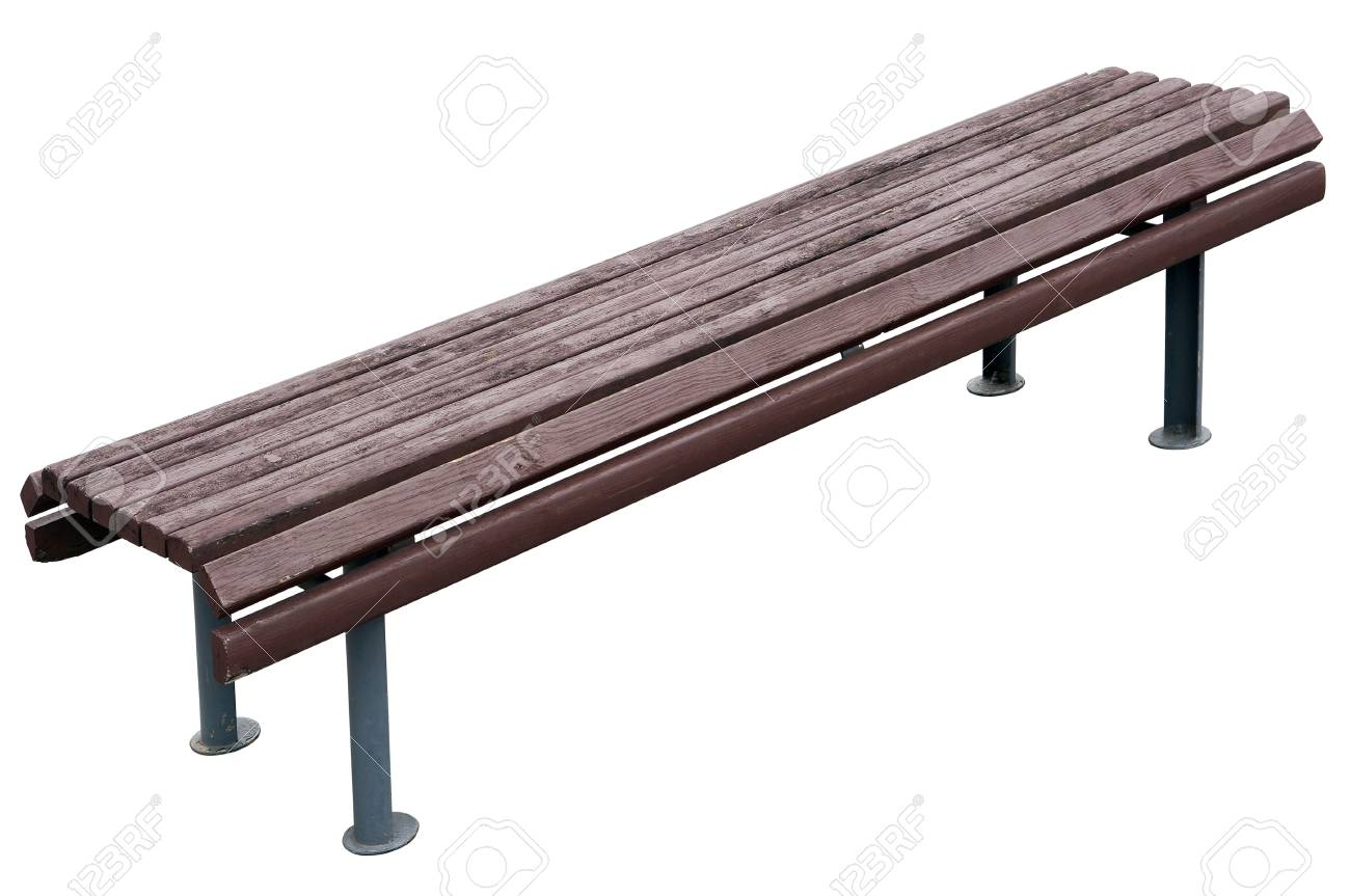 Picture of: Old Aged Vintage Park Bench With Wooden Seat And Metal Gray Legs Stock Photo Picture And Royalty Free Image Image 71574880