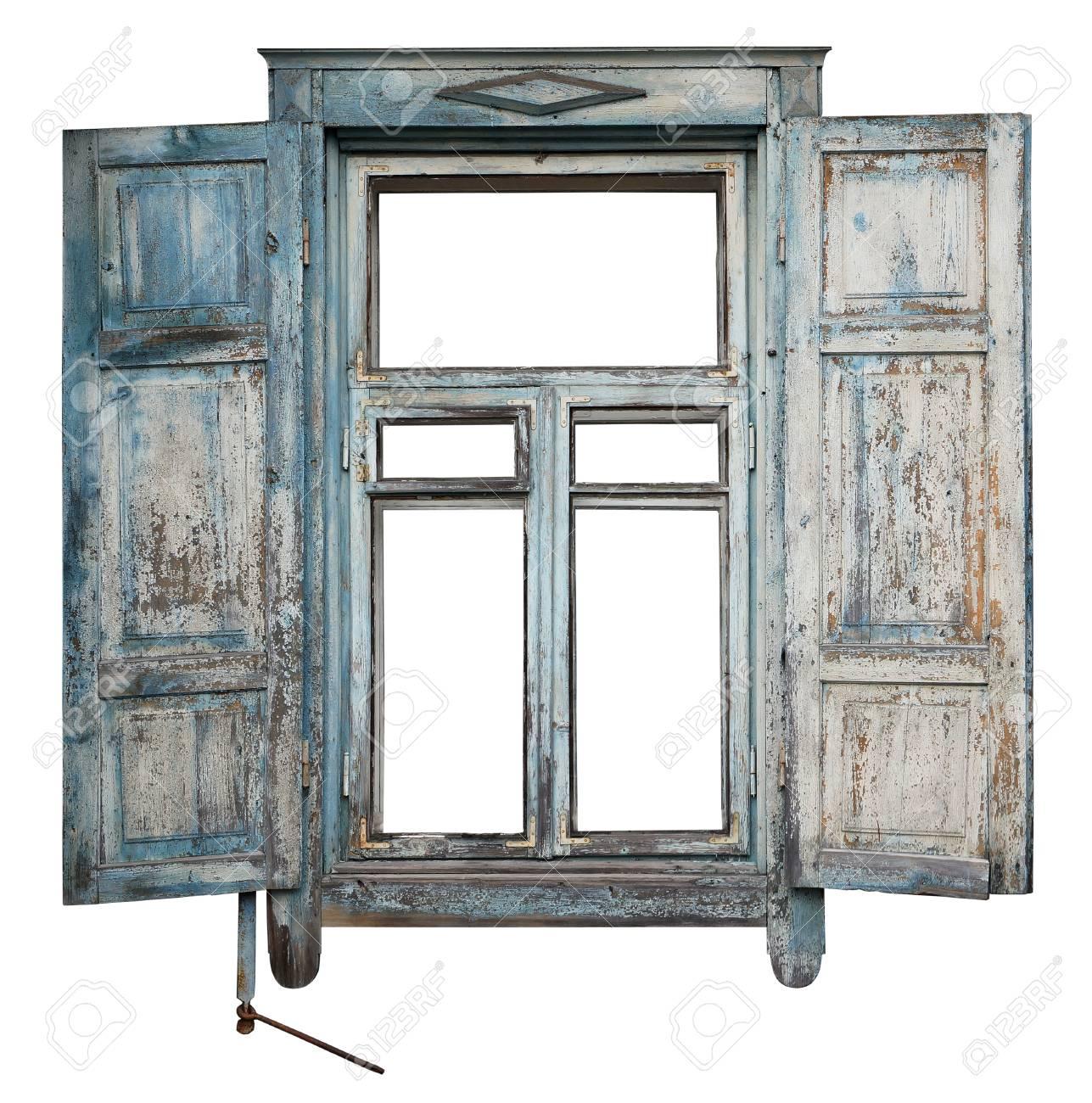 Fenêtre Avec Un Store Pare Soleil Ouvert Dans La Vieille Maison En