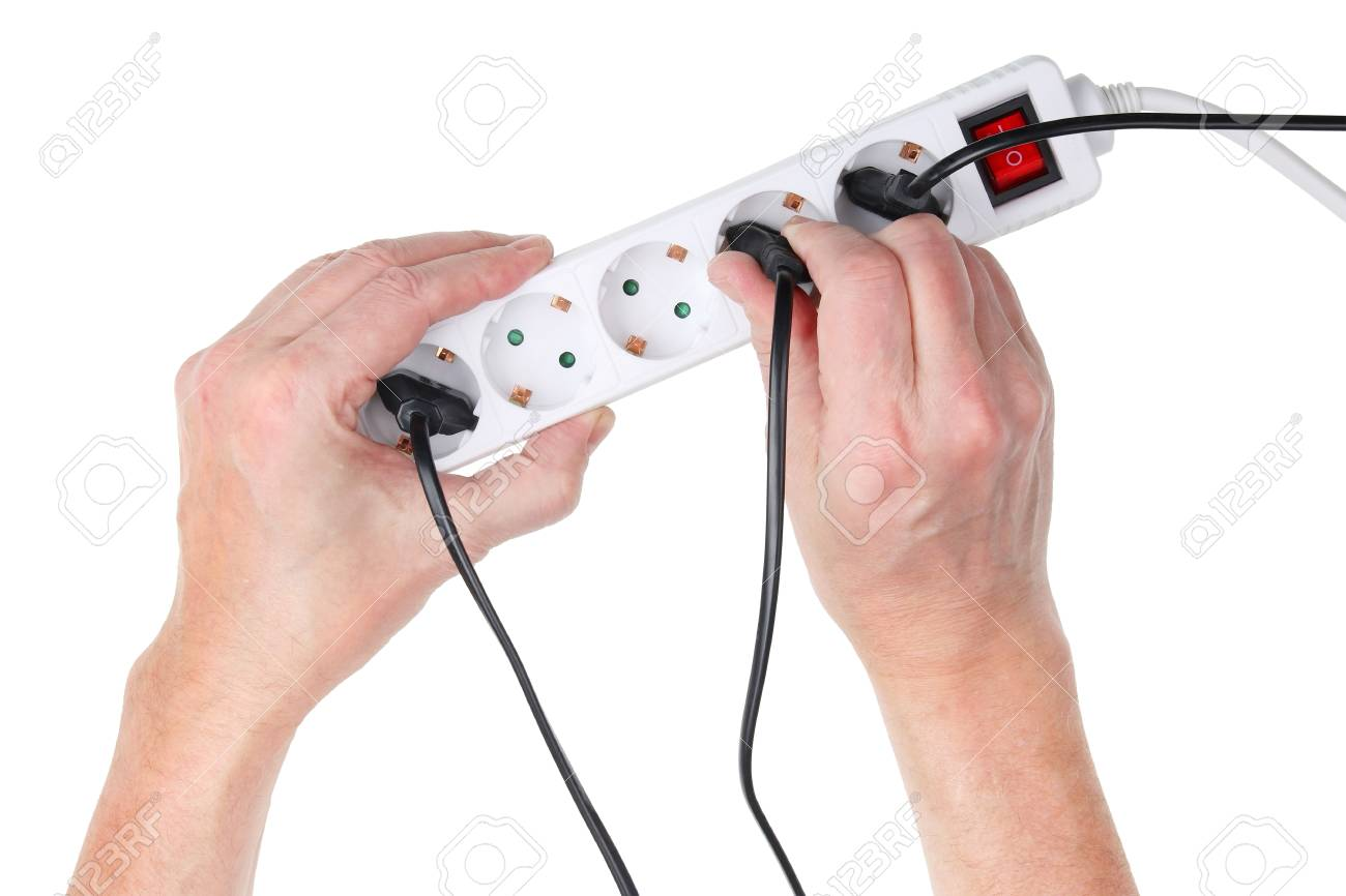 Old Elderly Man Tries To Insert A Wire With An Electrical Plug Wiring Top Into The Main Extension