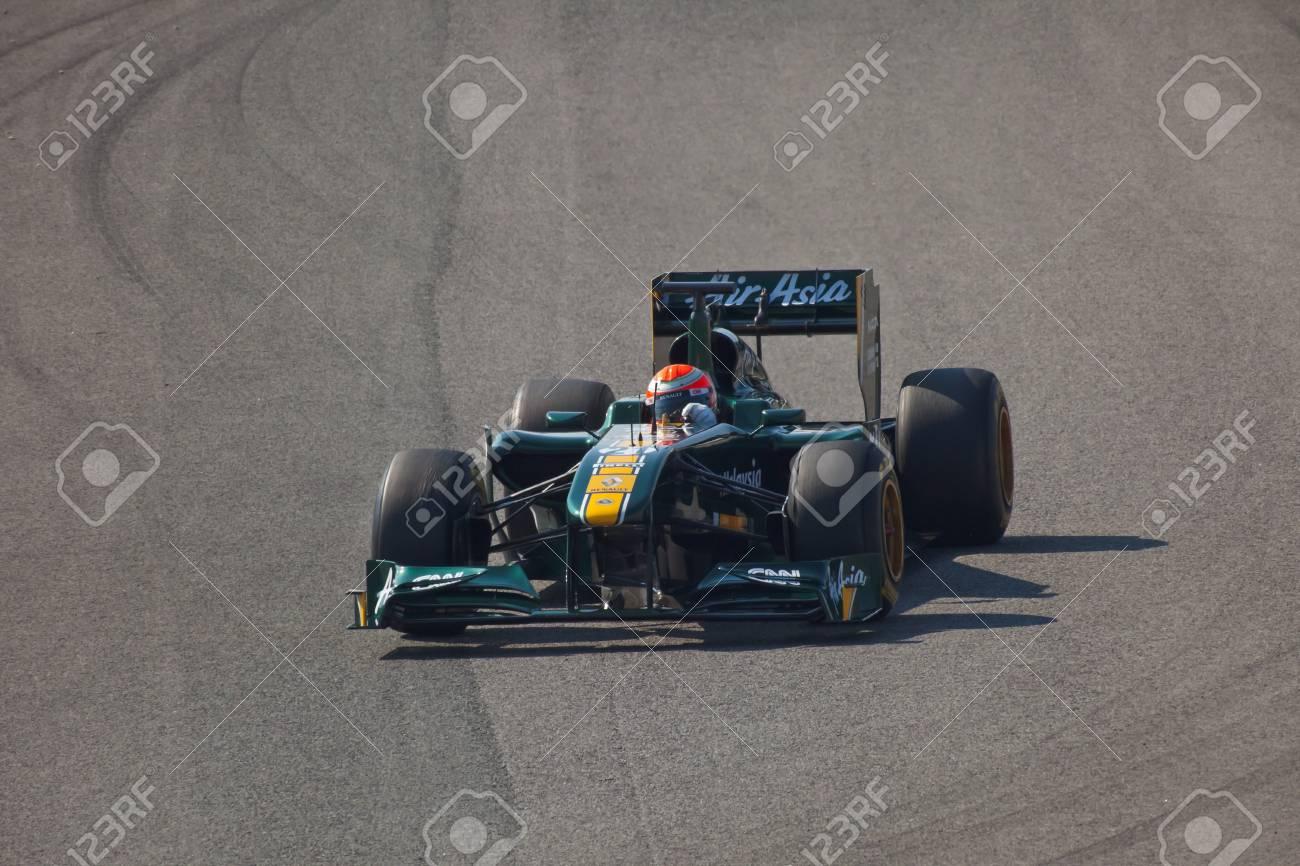 JEREZ DE LA FRONTERA, SPAIN - FEB 10: Jarno Trulli of Team Lotus F1 ON February 10 , 2011, on training session in Jerez de la Frontera , Spain Stock Photo - 9475799